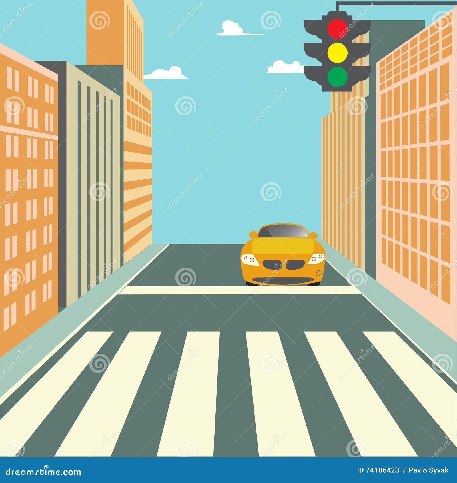 Stadt-Straße mit Gebäuden, Ampel, Zebrastreifen und Auto