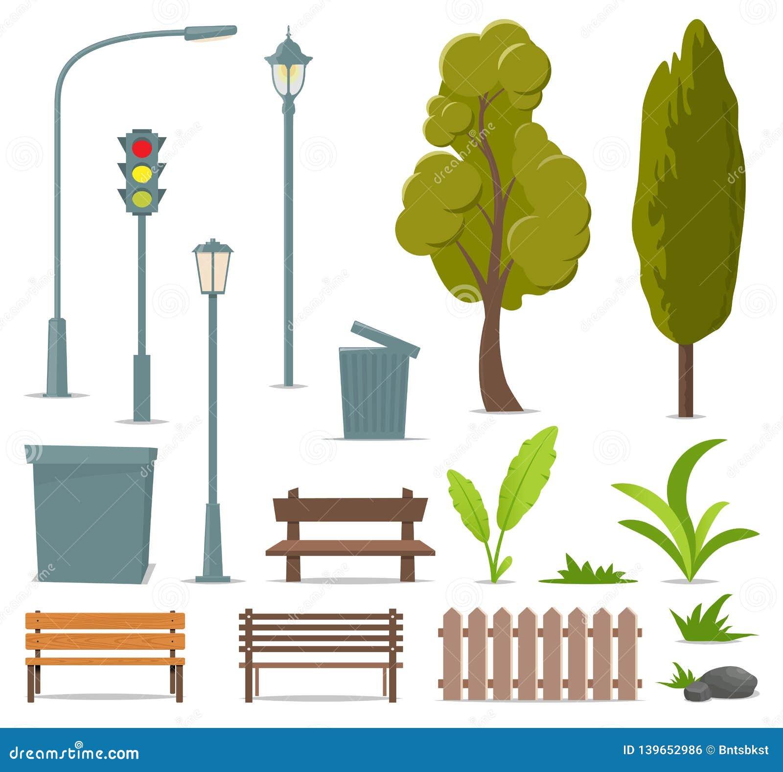 Stadt und Elemente im Freien Satz städtische Gegenstände Straßenlaterne, Ampel, Baum, Bank, Abfalleimer, Urne, Büsche, Gras, Anla