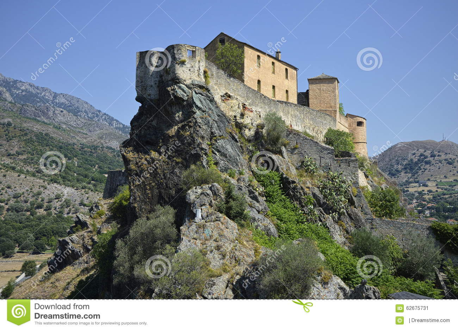 Stadt von Corte in Korsika
