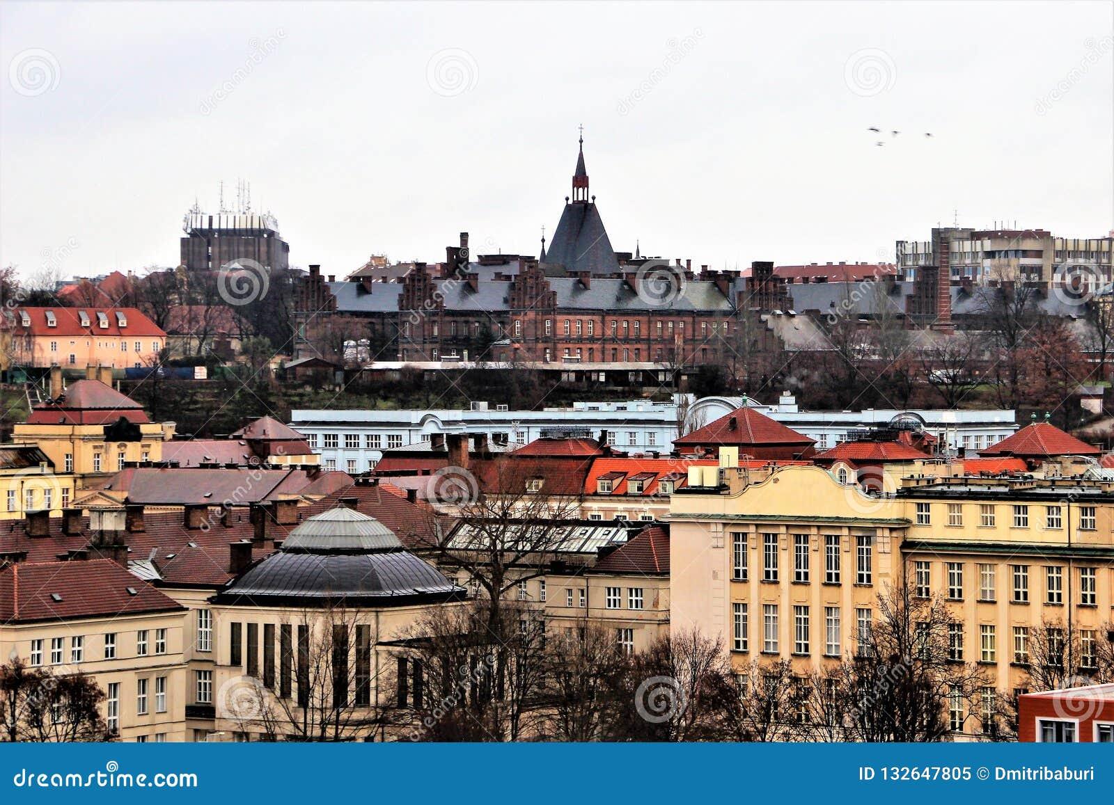 Stadtansicht von altem Prag von der Seite von Vysehrad im Winter im Januar