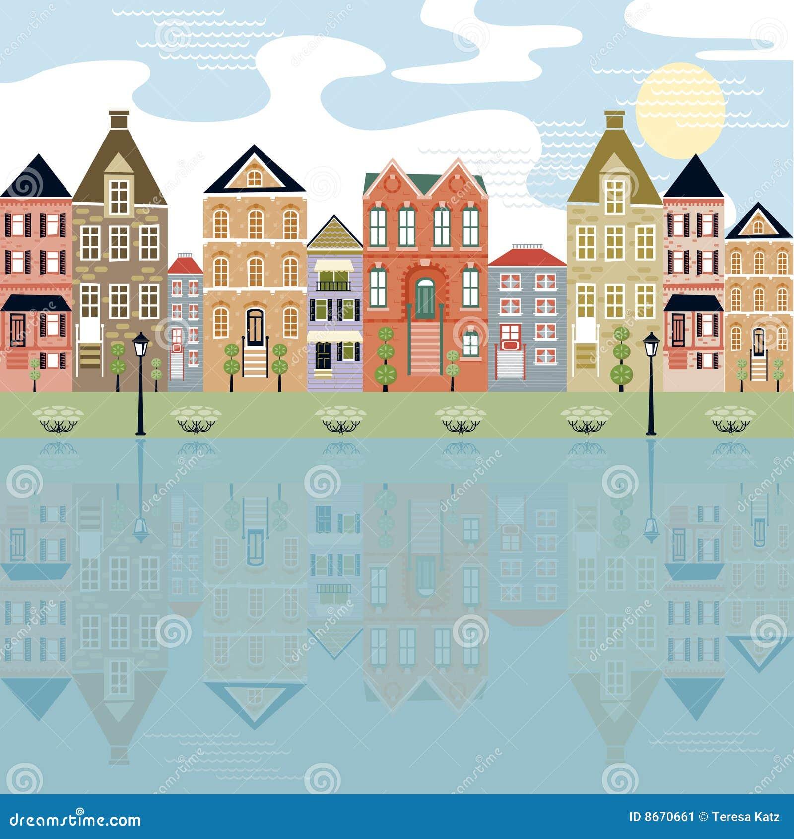 Stadtbild auf der Ufergegend