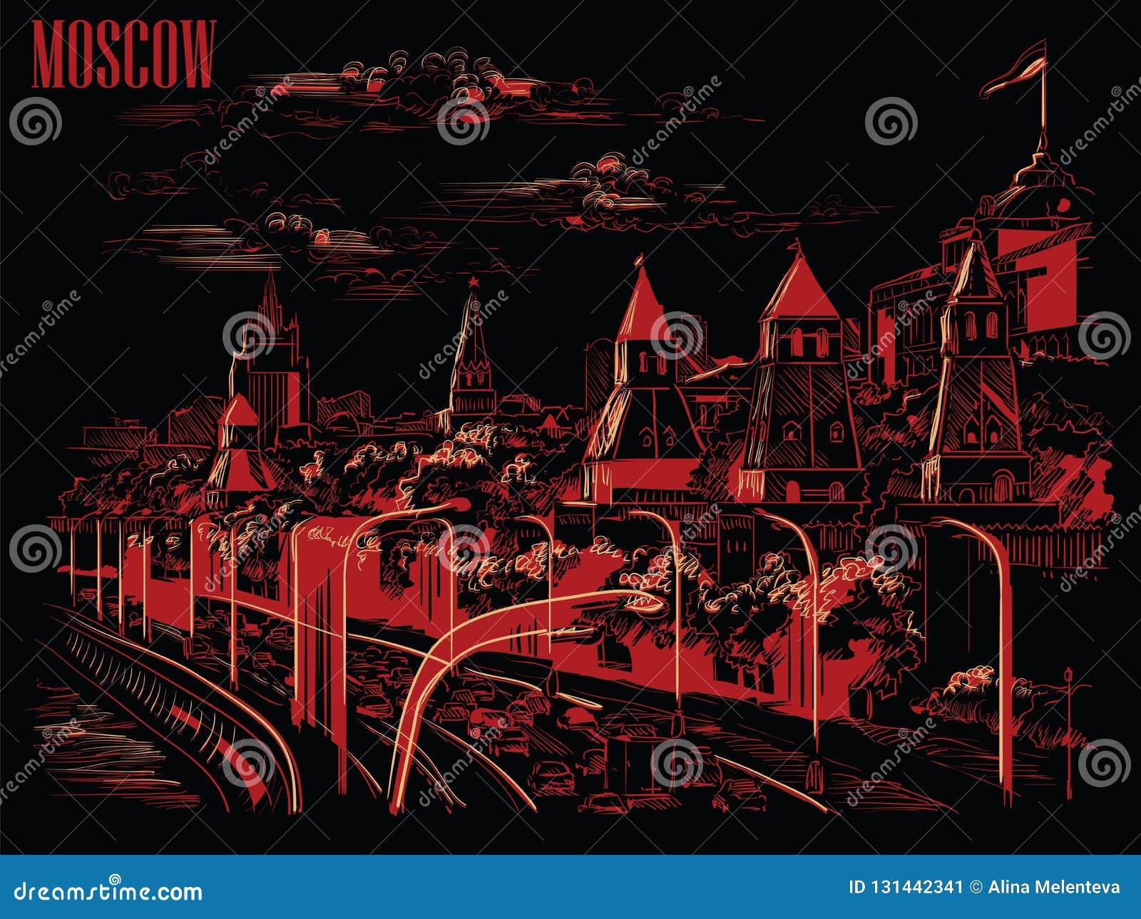 Stadtbild des Dammes der Kreml-Türme und Moskau-Fluss Roten Platzes, Moskau, Russland lokalisierte Vektorhandzeichnungsillustrati