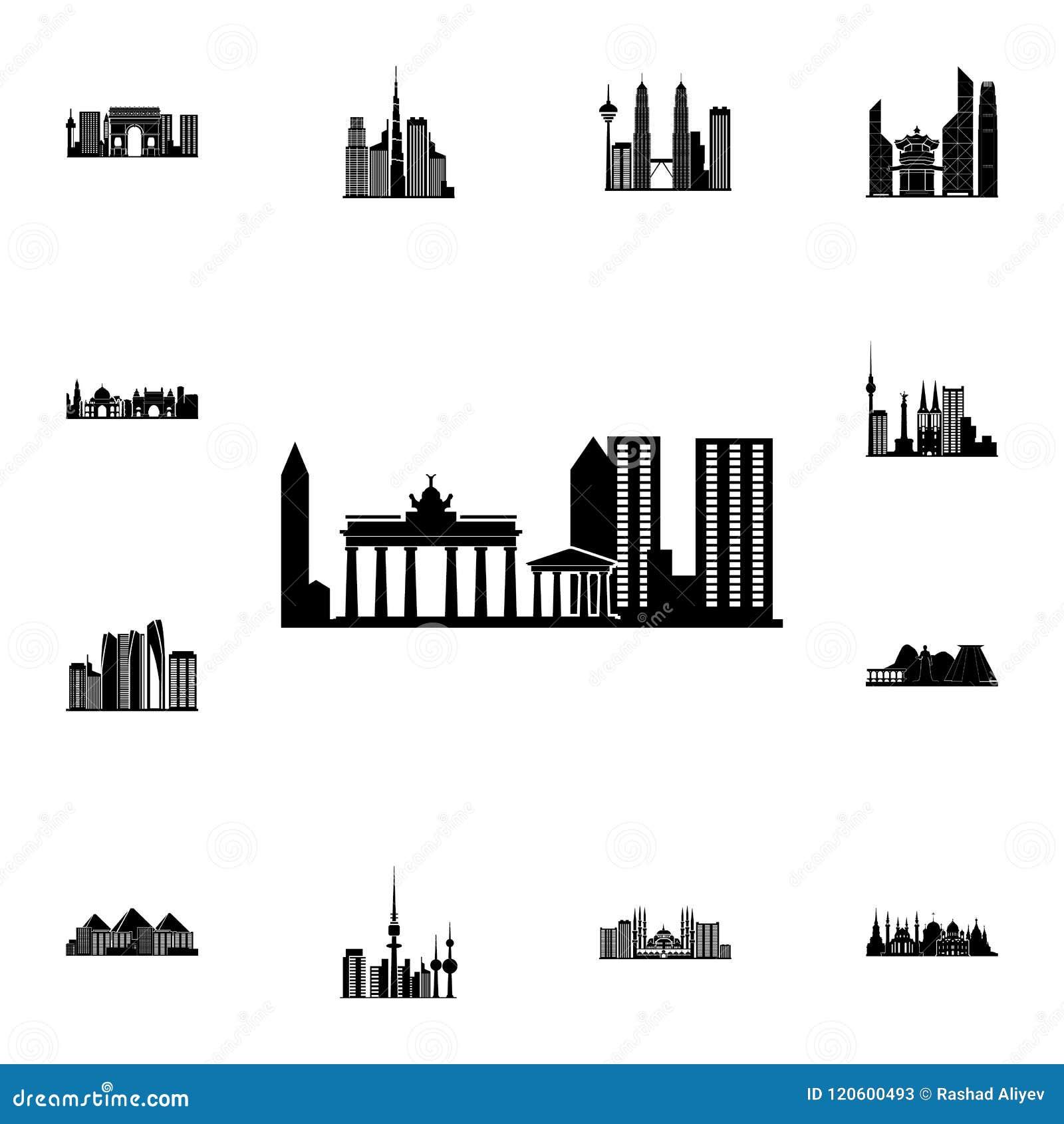 Stadtbild in Taipeh-Ikone Ausführlicher Satz Stadtbildikonen Erstklassiges Qualitätsgrafikdesignzeichen Eine der Sammlungsikonen