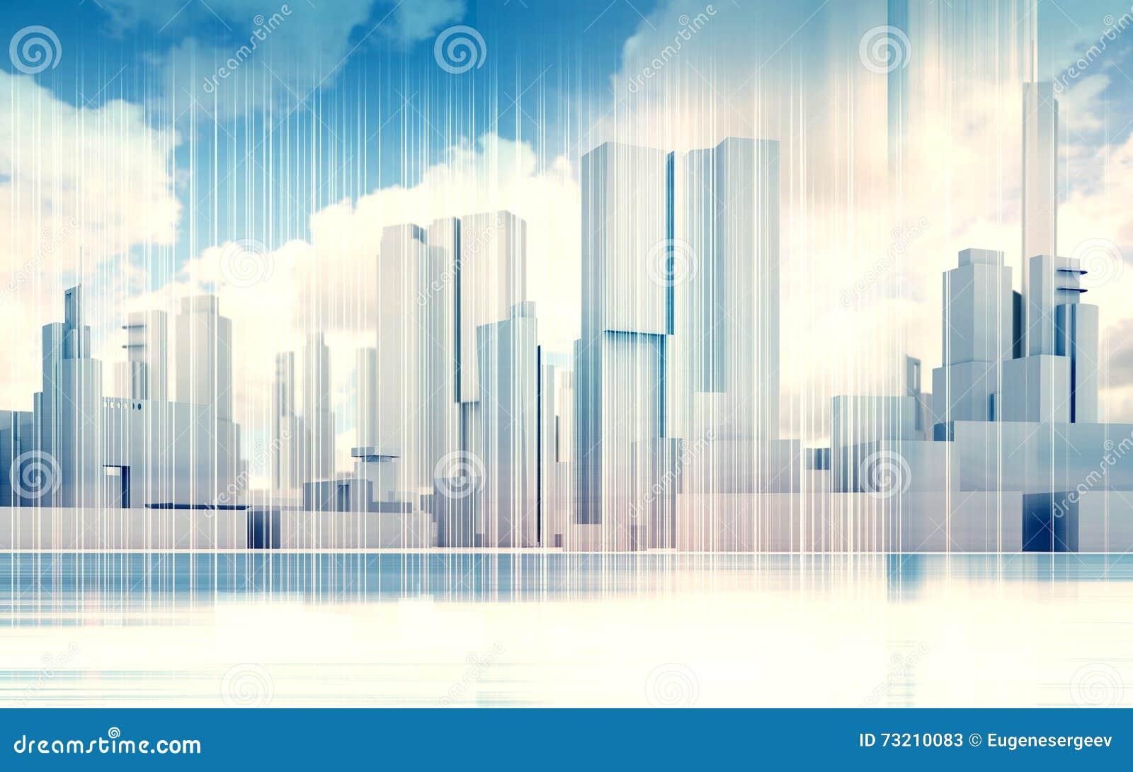 Stadtbildskyline, drastischer Himmel, Drahtrahmen 3d