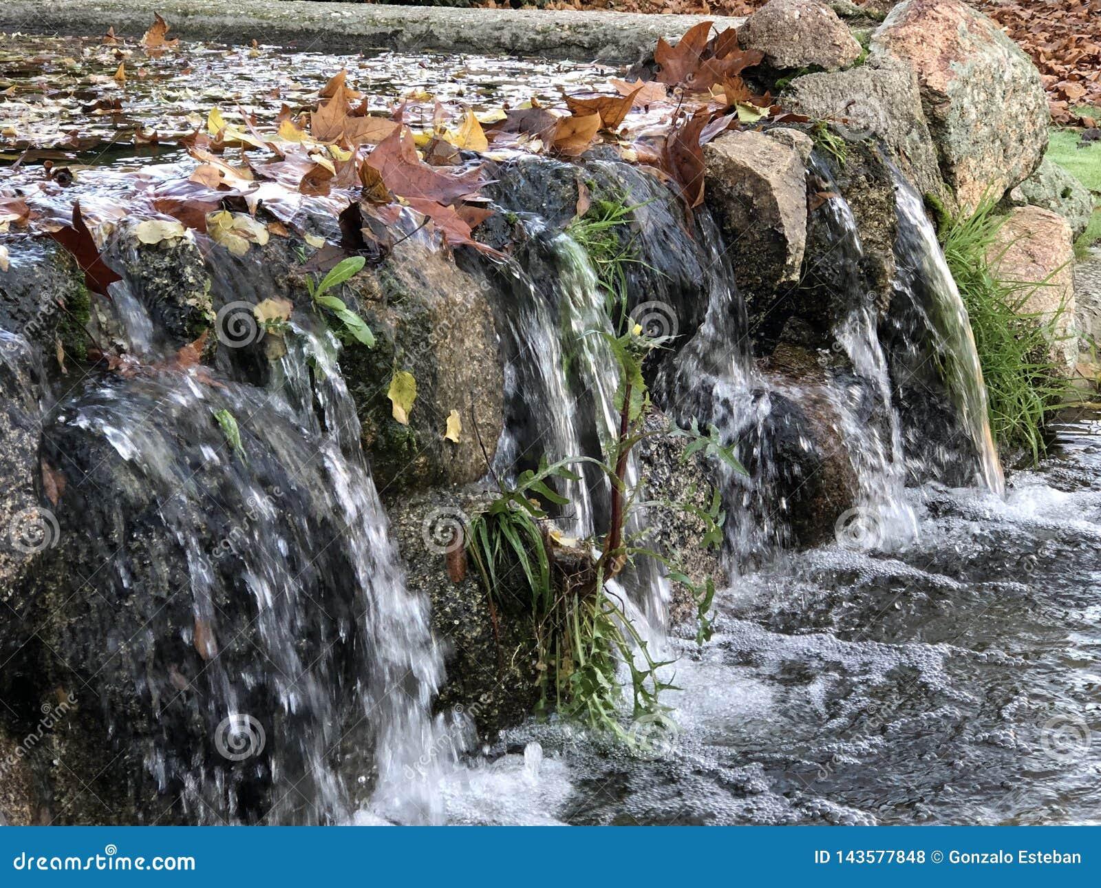 Stadtpark mit einem Miniwasserfall