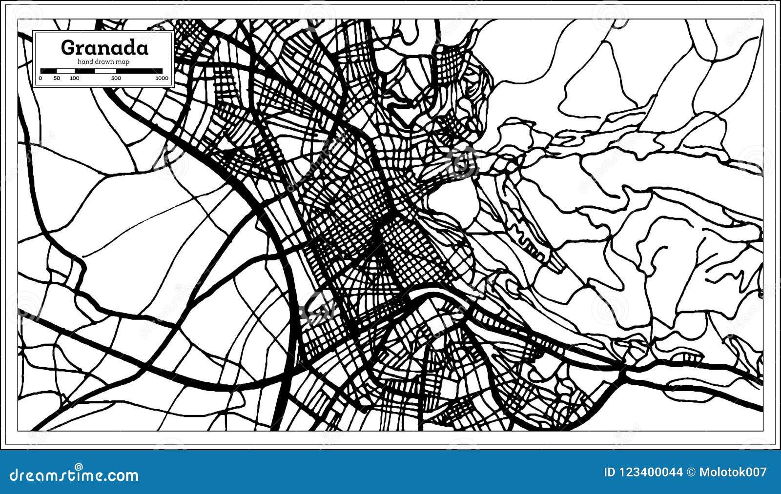 Stadtplan Granadas Spanien im Retrostil Antilocapra Americana