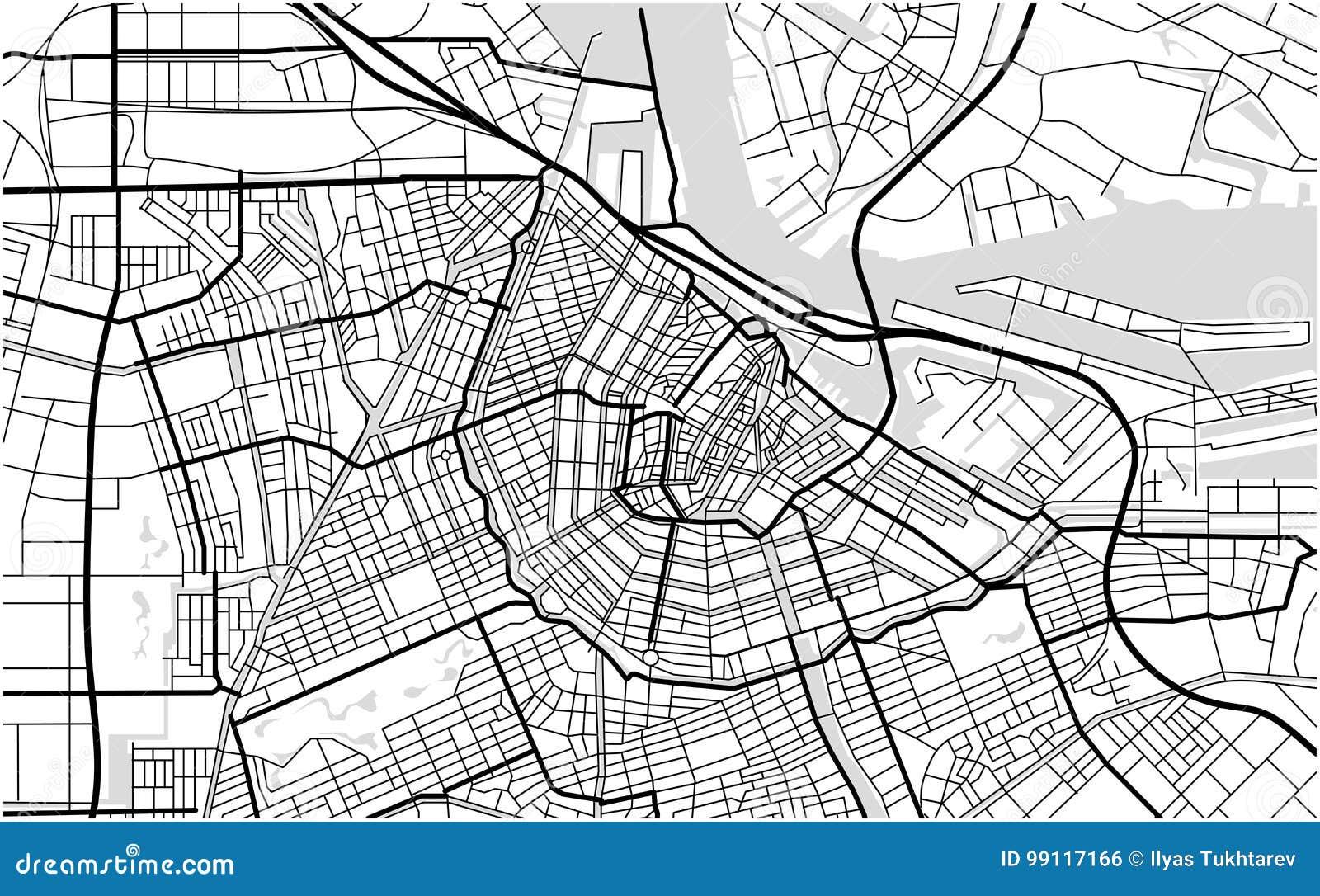 Stadtplan von Amsterdam, die Niederlande