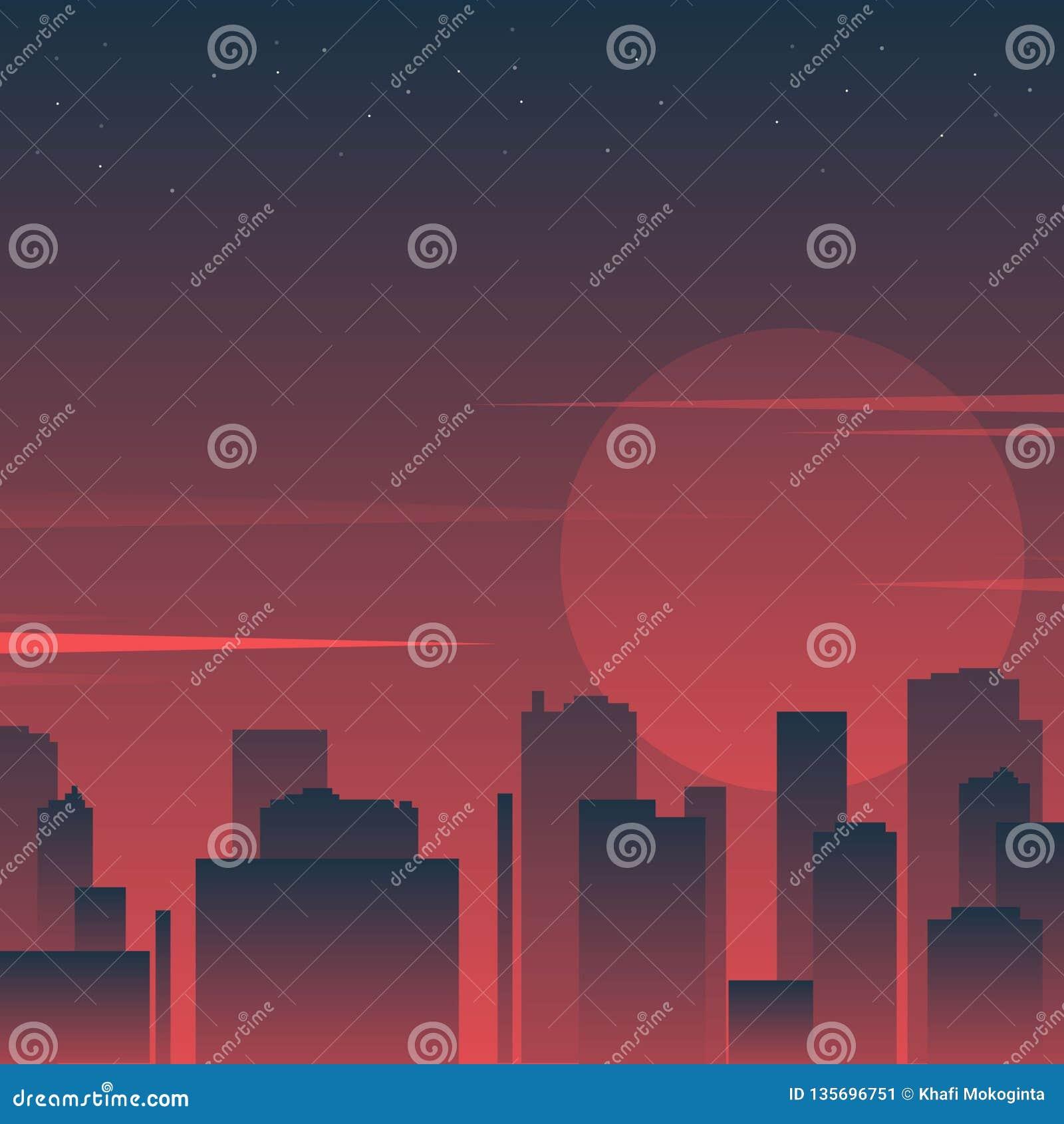 Stadtschattenbild in der Nacht