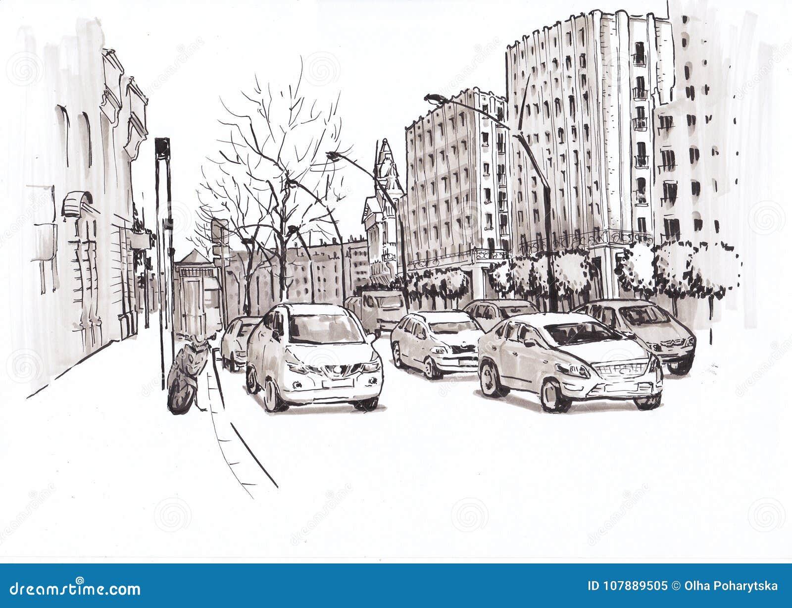 Stadtstraße Mit Autos Skizze Stock Abbildung - Illustration von ...