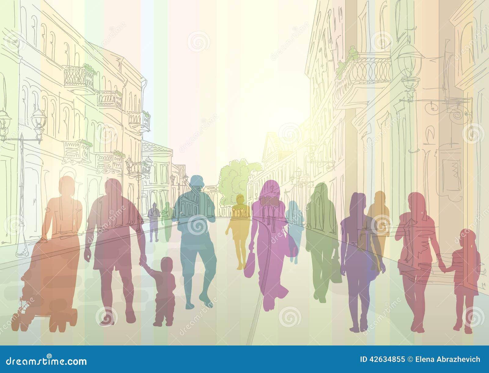Stadtstraßen- und -leuteschattenbilder