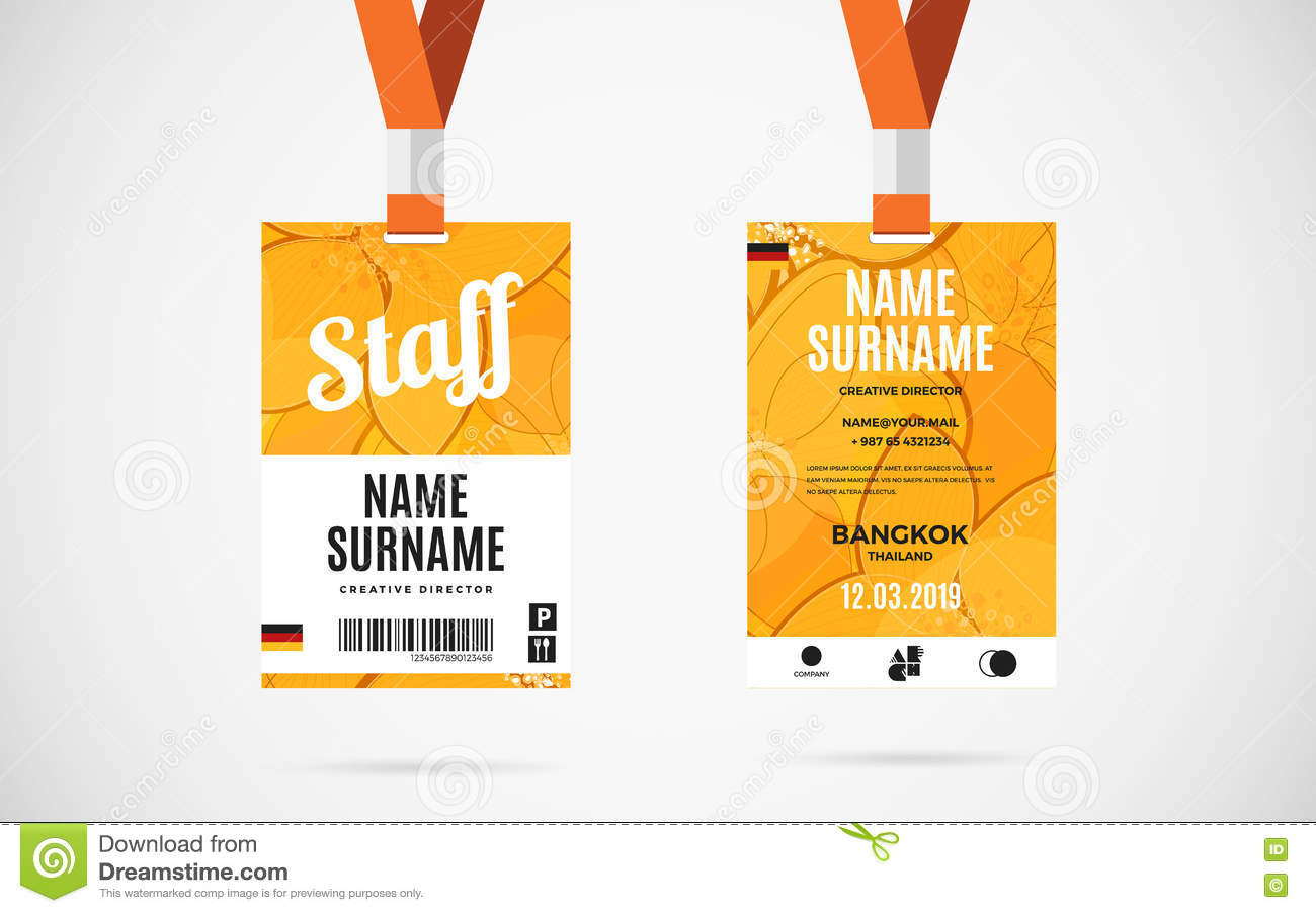 Staff Id Card Set Vector Design Illustration Stock Vector - Image ...