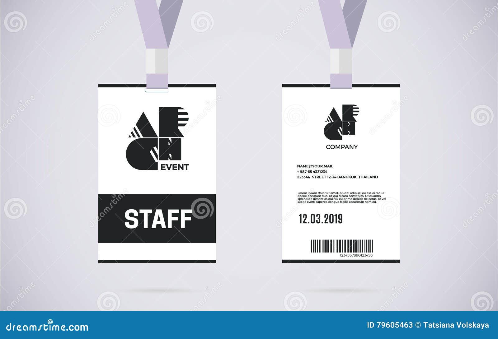 staff id card set vector design illustration stock vector