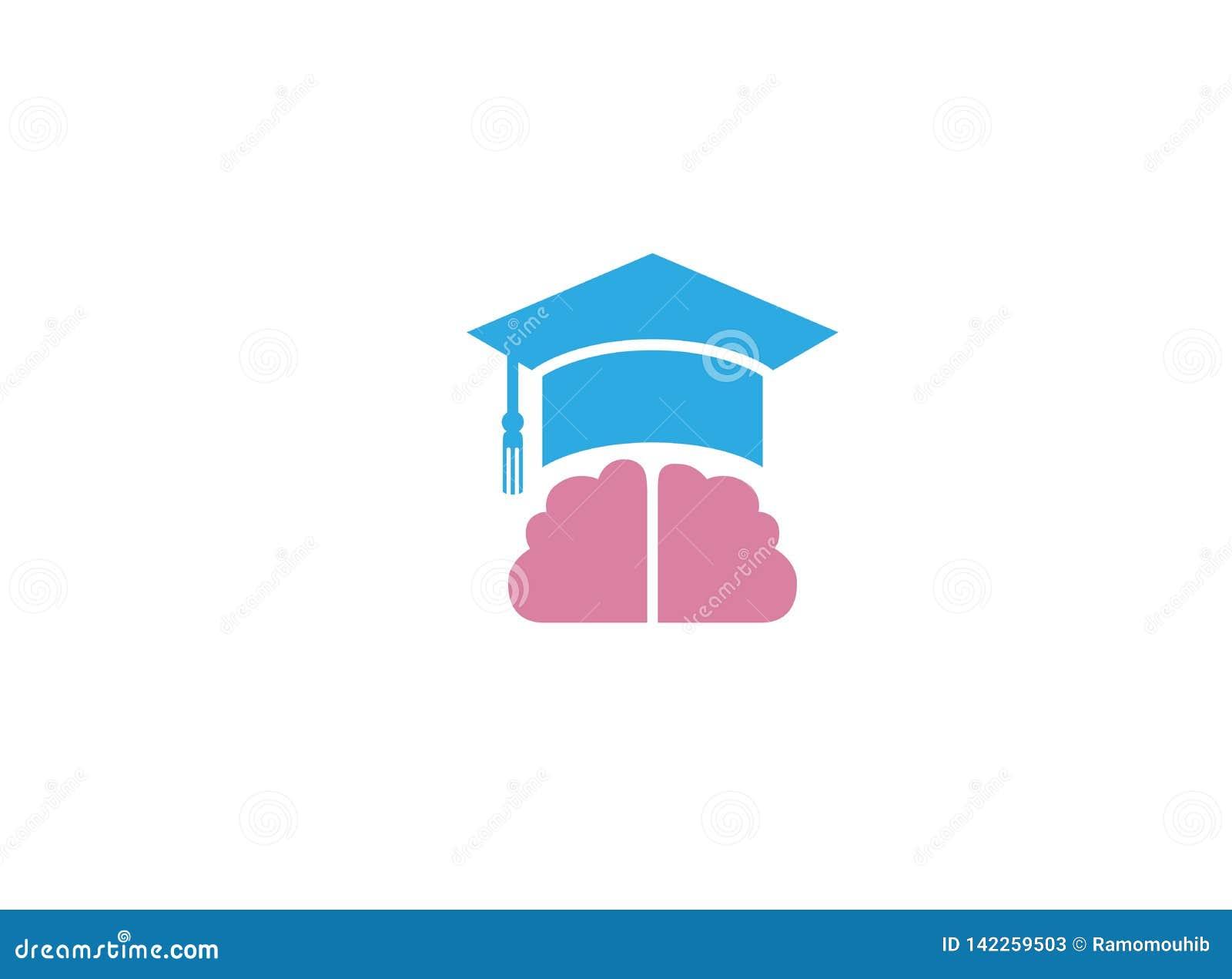 Staffelungs-Hut und Gehirn für Logoentwurf