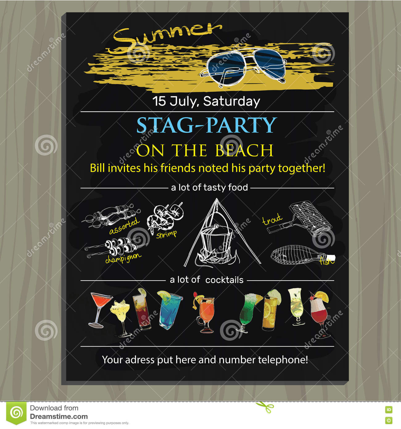 Stagparty Invite On The Beach Holiday Vacation Invitation C – Stag Party Invites