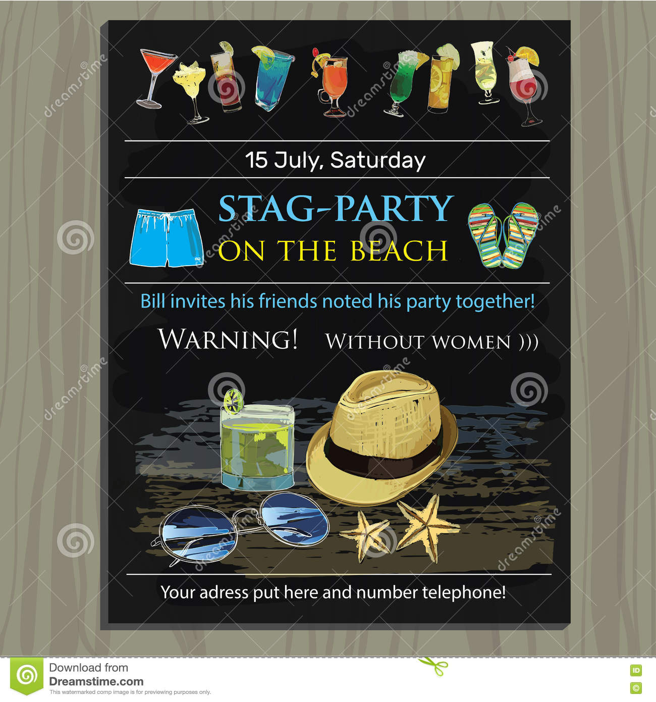 Stagparty Invite On The Beach Holiday Vacation Invitation Ca – Stag Party Invitation