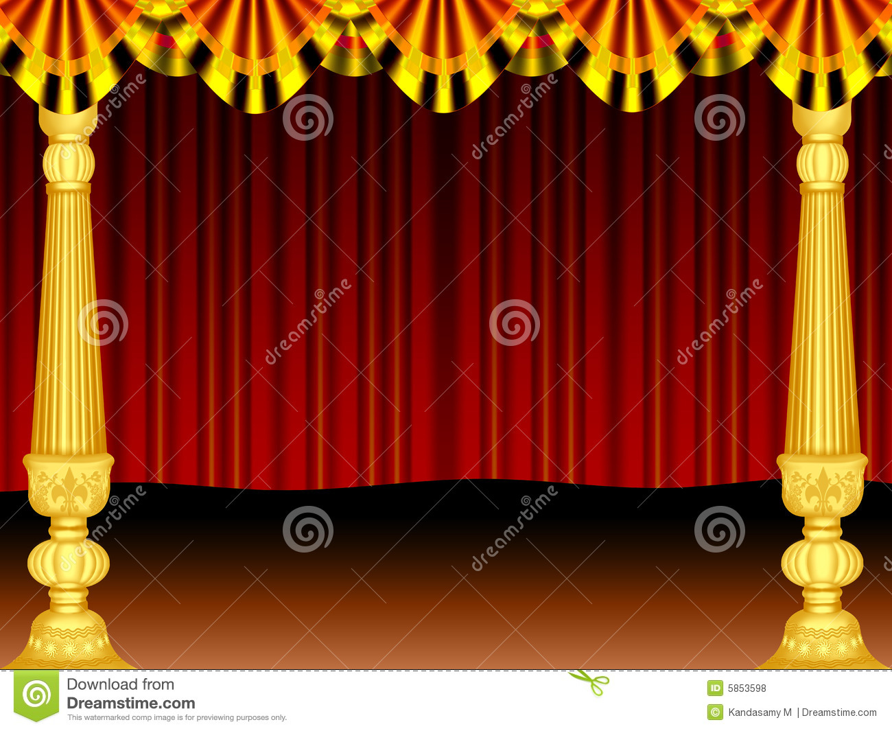 Gold stage curtains - Stage Curtain Border Viewing Gallery
