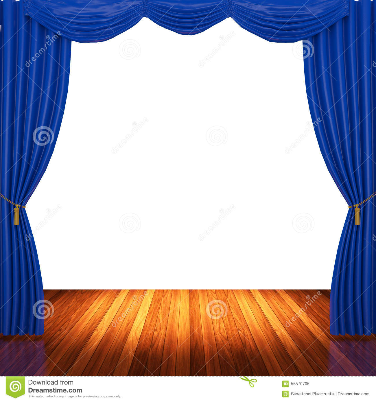 Stage curtains spotlight - Stage With Blue Curtains And Spotlight Stock Photo