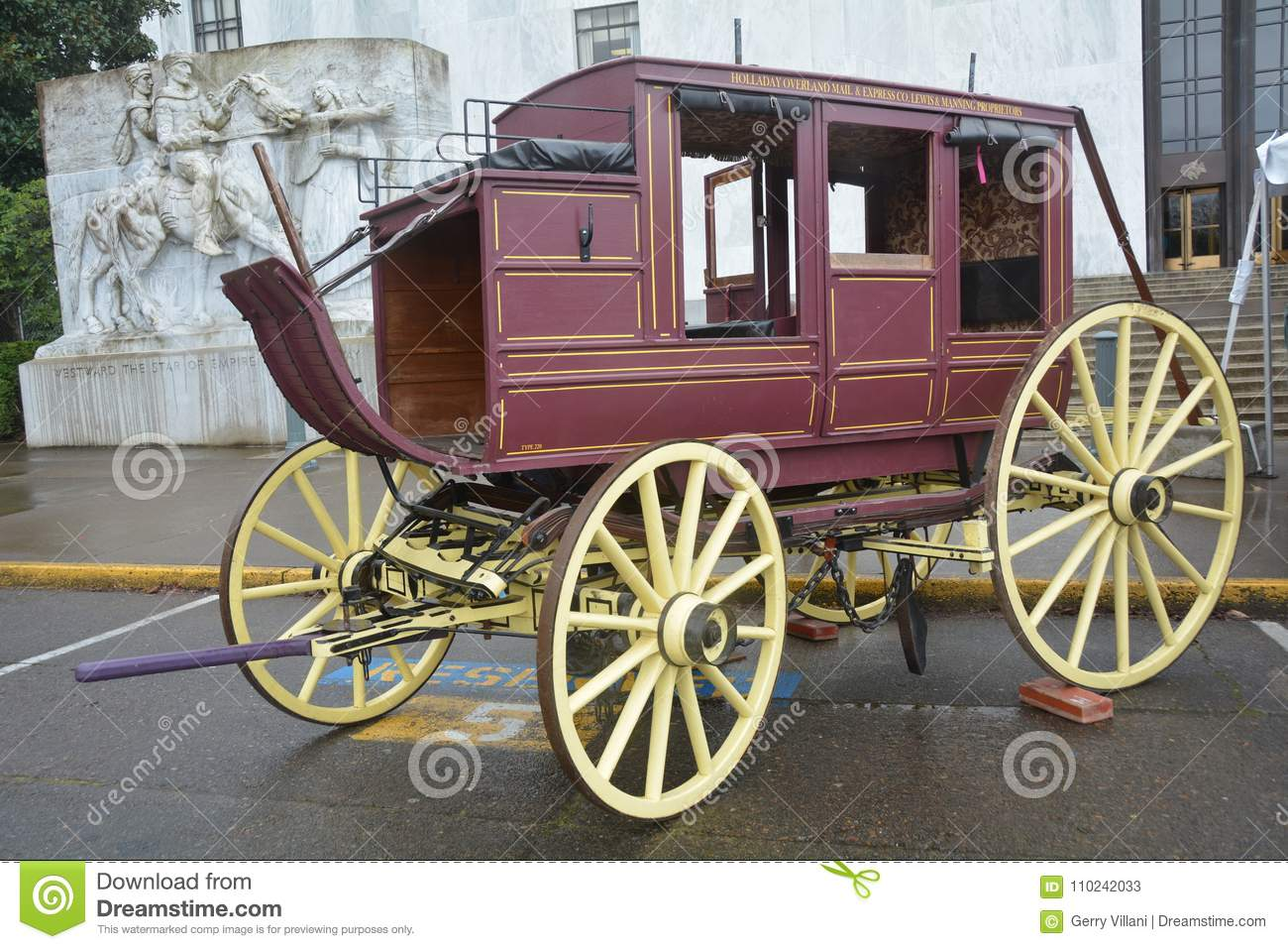 Historic Stage Coach at the Capitol Building in Salem, Oregon
