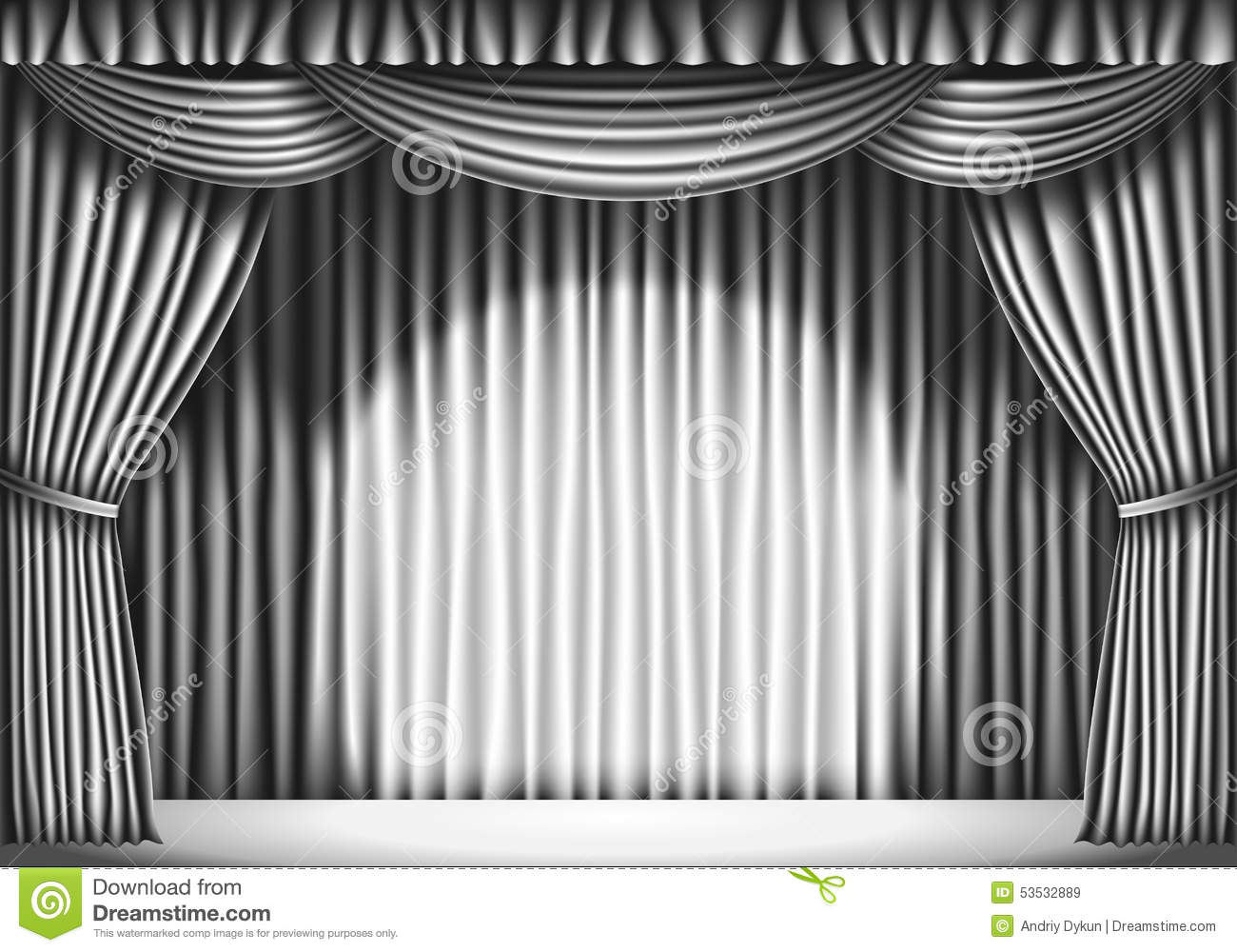Stage with white curtain black and white retro illustration