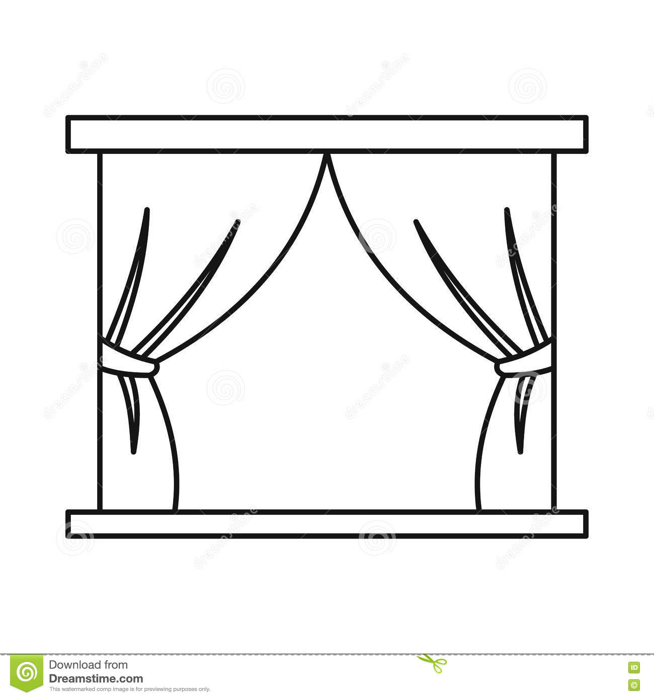 Stage curtains icon in outline style stock vector image for Decor outline