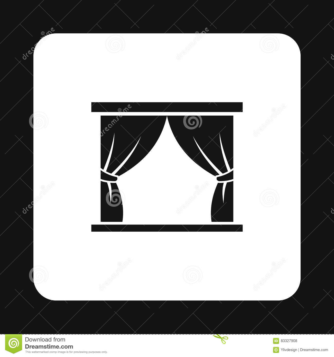 Black and white stage curtain - Royalty Free Vector