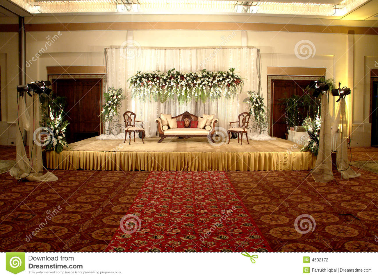 Wedding stage decoration stock images 1088 photos stage decoration wedding stage decoration a beautiful reception full of decent lighting and flowers junglespirit Images