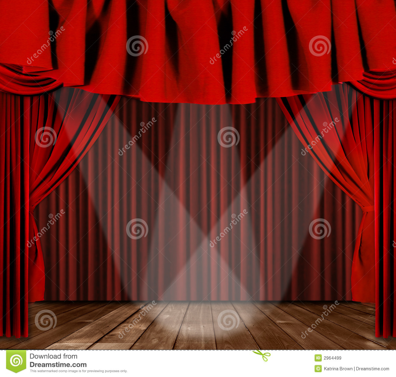 Red curtains with spotlight - Drapes Red