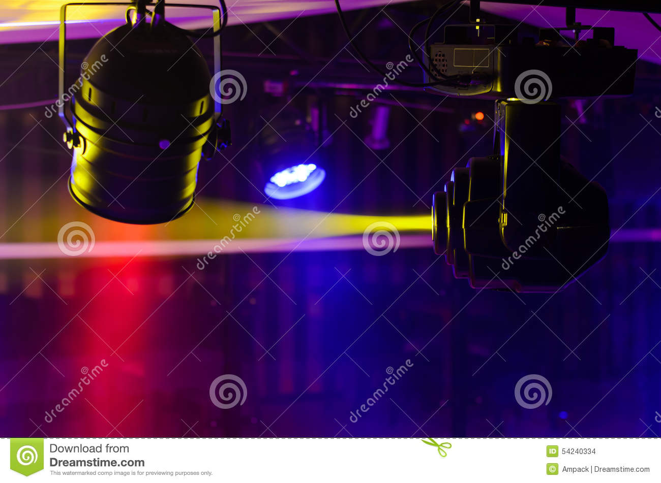 Download Stage Fresnel Lights And Reflector Spotlight Stock Photo