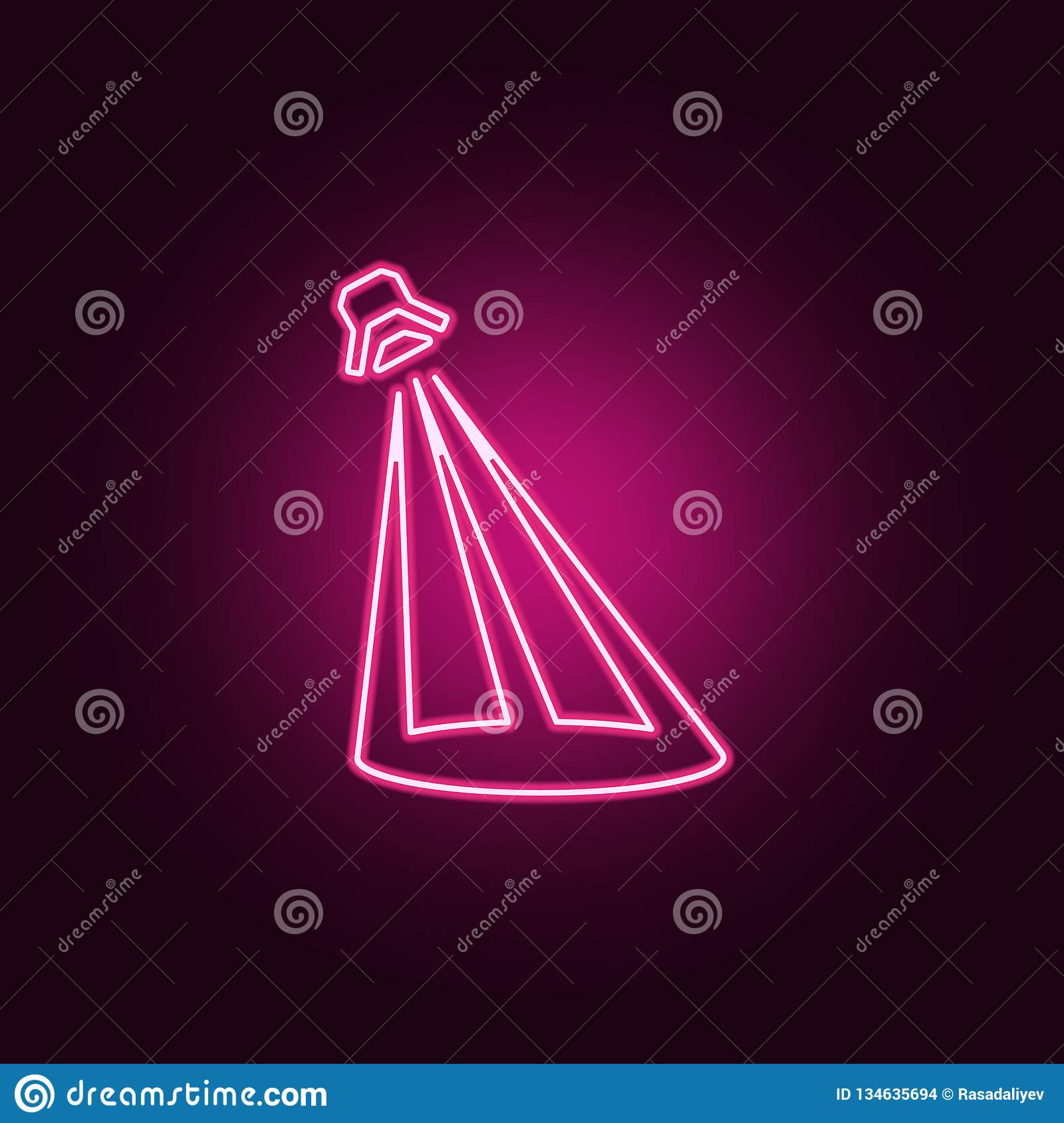 Stage lighting icon elements of spotlight in neon style icons simple icon for websites