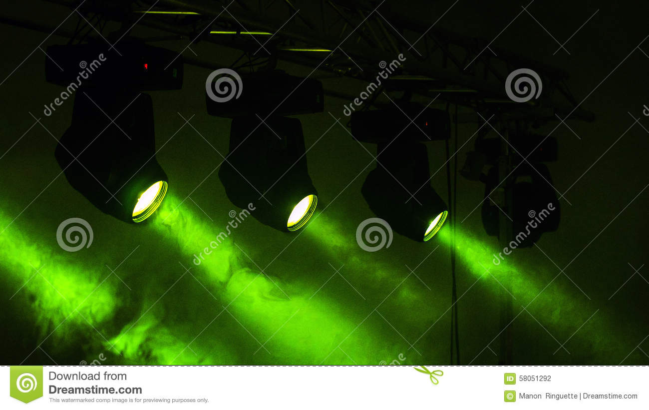 Stage Lights Green and Smokey