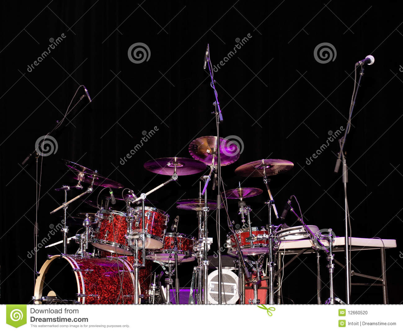 Stage Lit Drum Kit Stock Photo Image Of Sound Stage 12660520