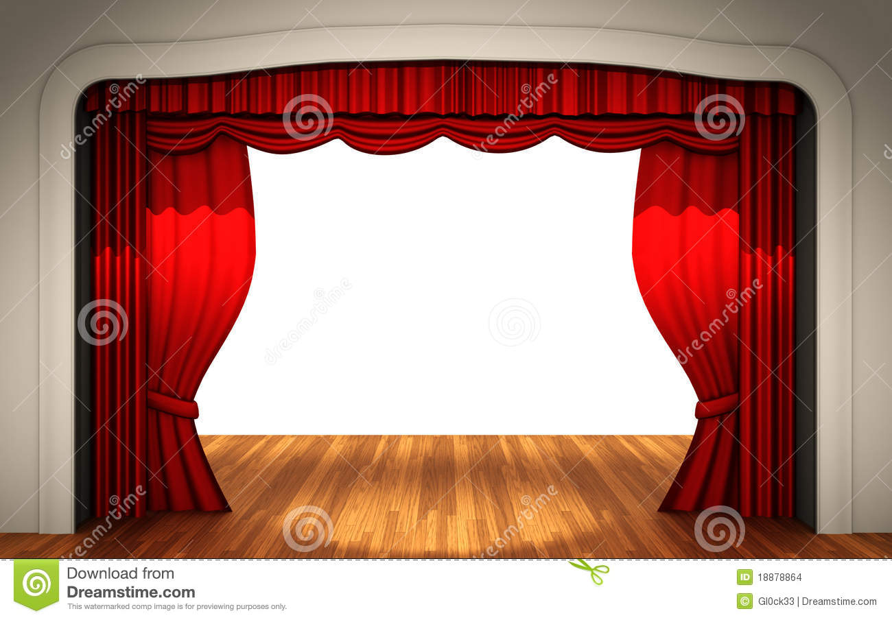 Stage With Open Curtain Stock Images Image 18878864