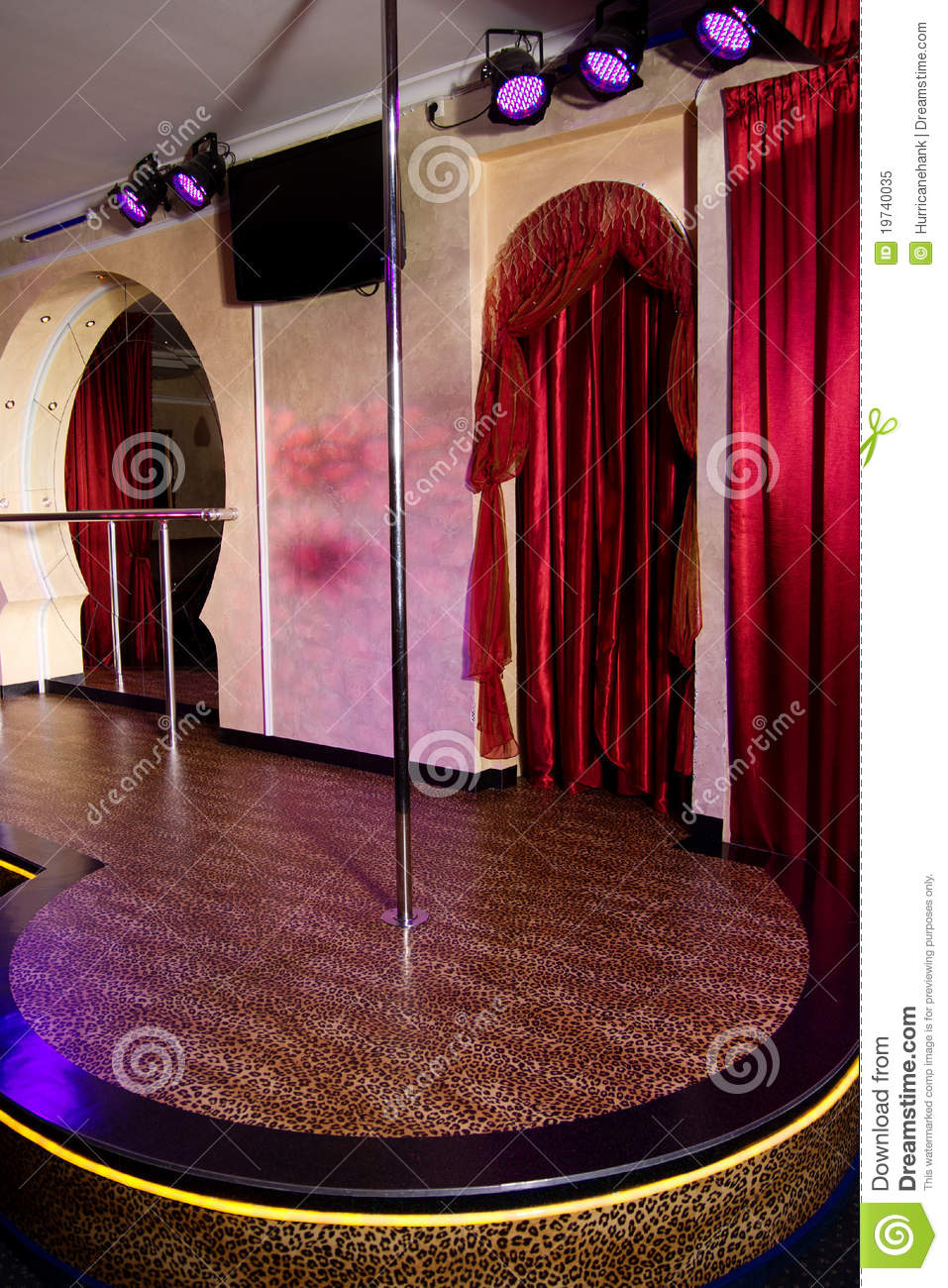 Stage With Pole In The Strip Club Royalty Free Stock Photo