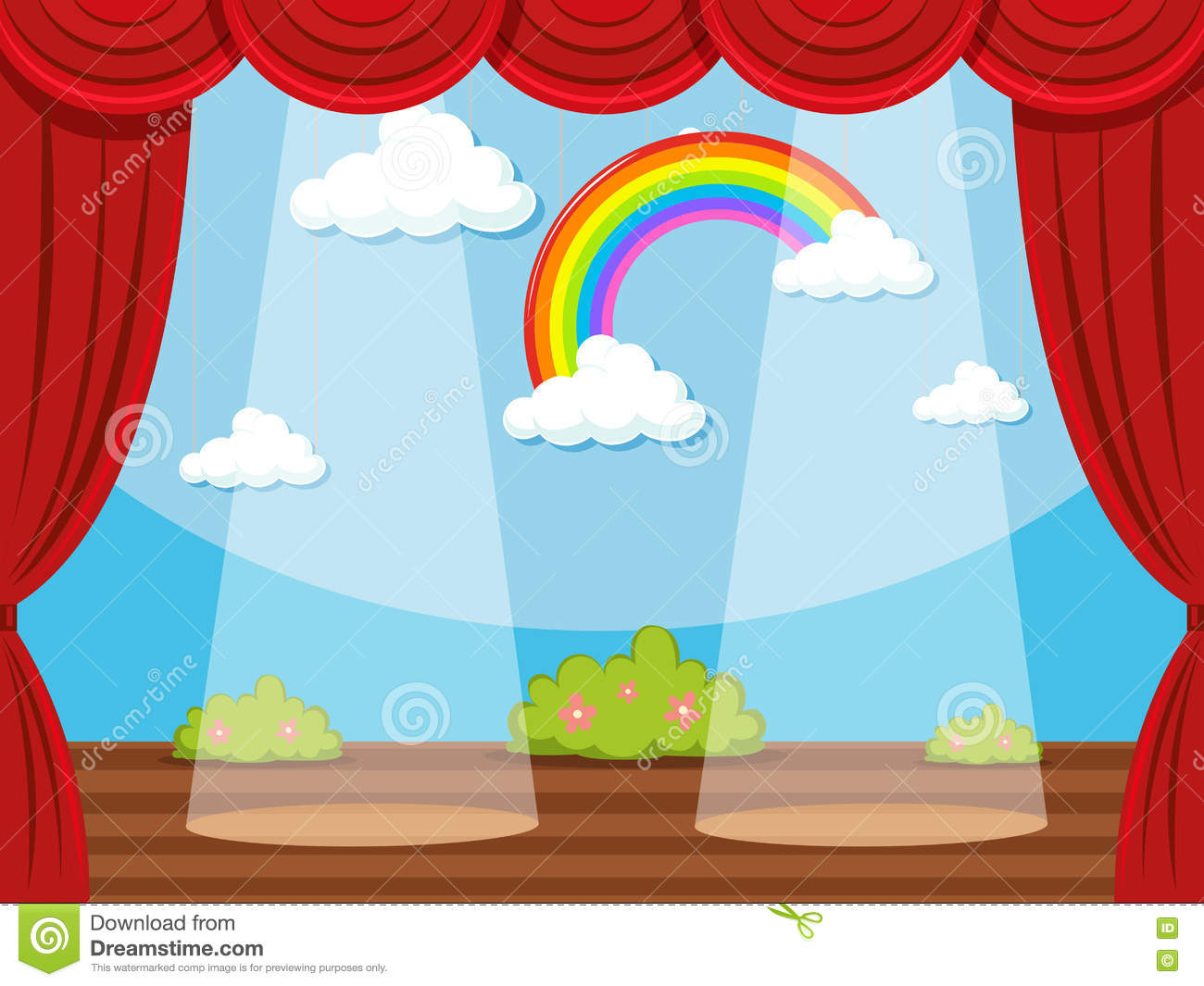 stage with rainbow in backdrop stock vector illustration of rh dreamstime com stage clipart stage clipart png
