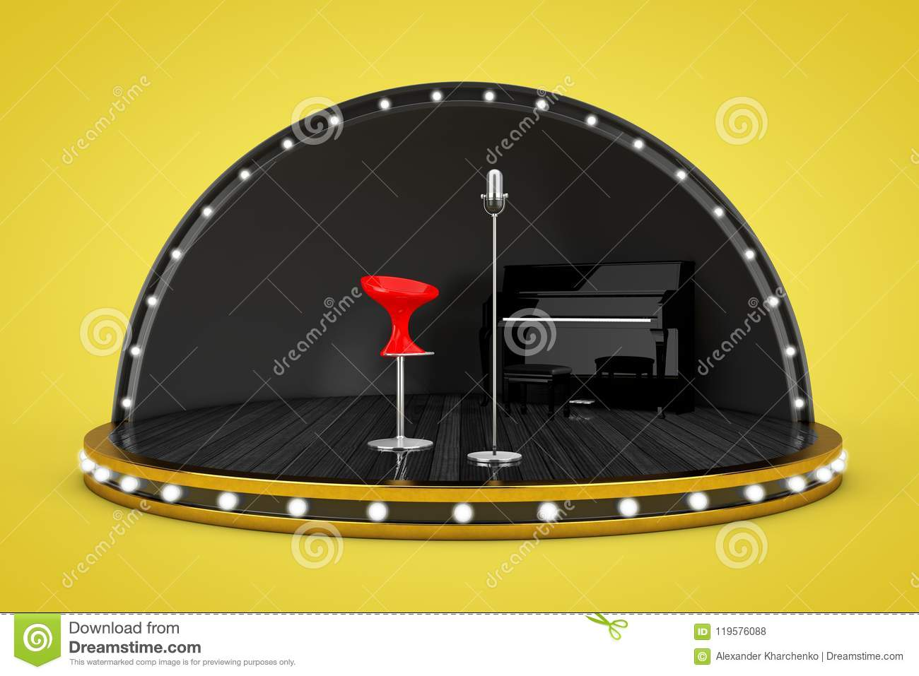 Download Stage Scene With Lights And Piano Microphone Singer Chair Stock Photo