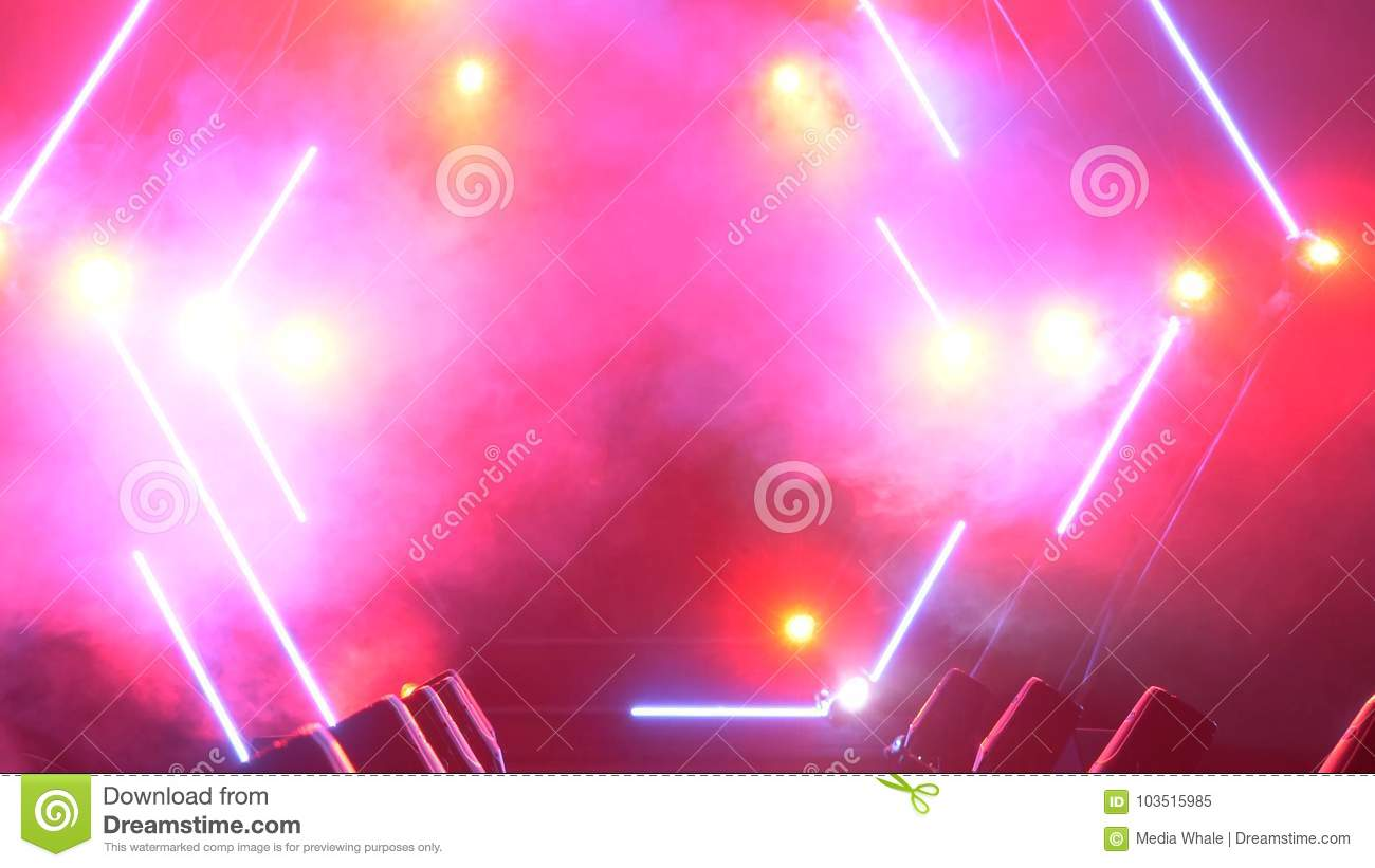 Stage with smoke and spot lights. Presentation concept. Modern podium or a stage with lights and smoke