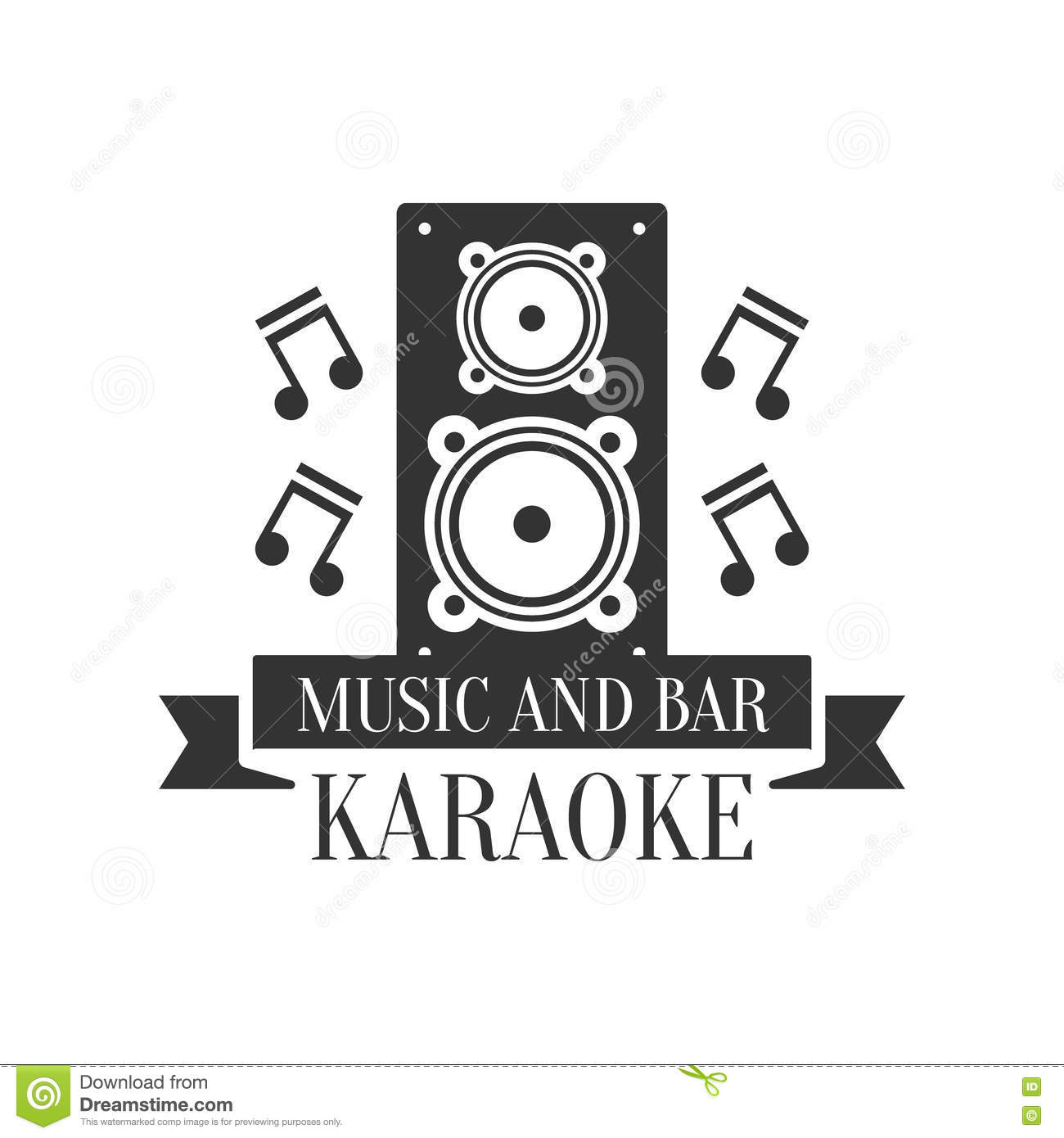 Stage Speaker And Music Notes Karaoke Premium Quality Bar