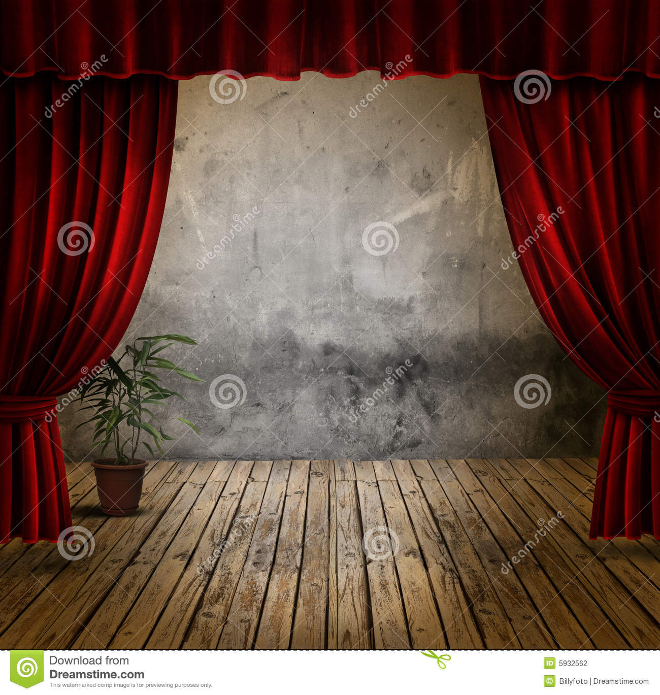 Red velvet curtains stage - Stage And Velvet Curtains Stock Photography