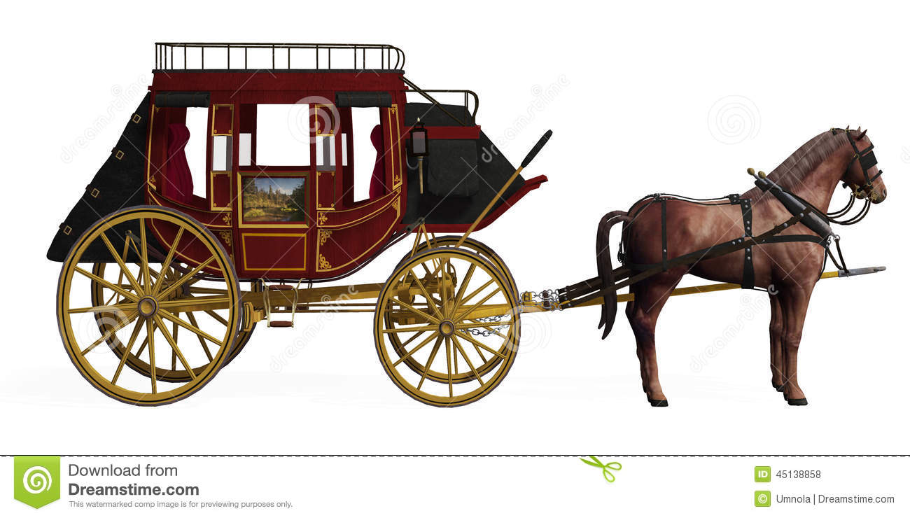 stagecoach with horses stock illustration illustration of stagecoach clip art black and white Cartoon Stagecoach