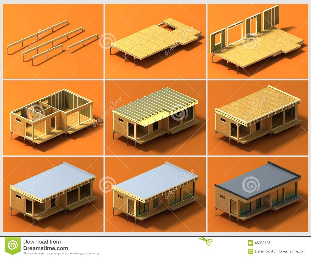 Stages of construction 2 stock illustration image 65982195 for Time to build a house