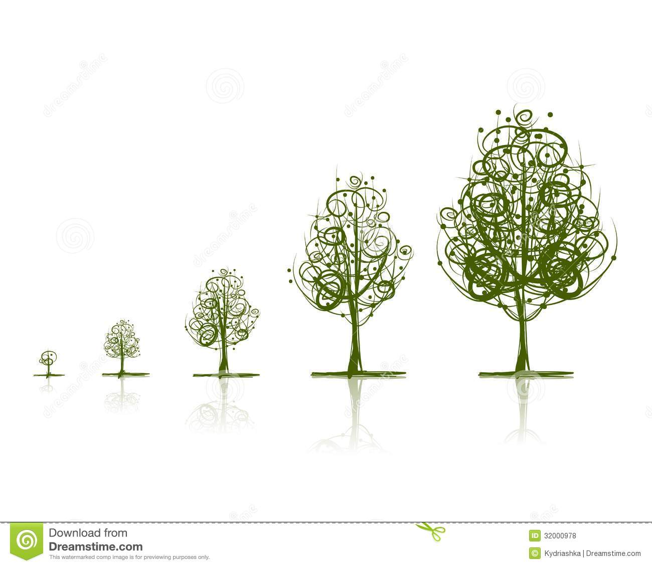 Stages of growing tree for your design. This is file of EPS10 format.
