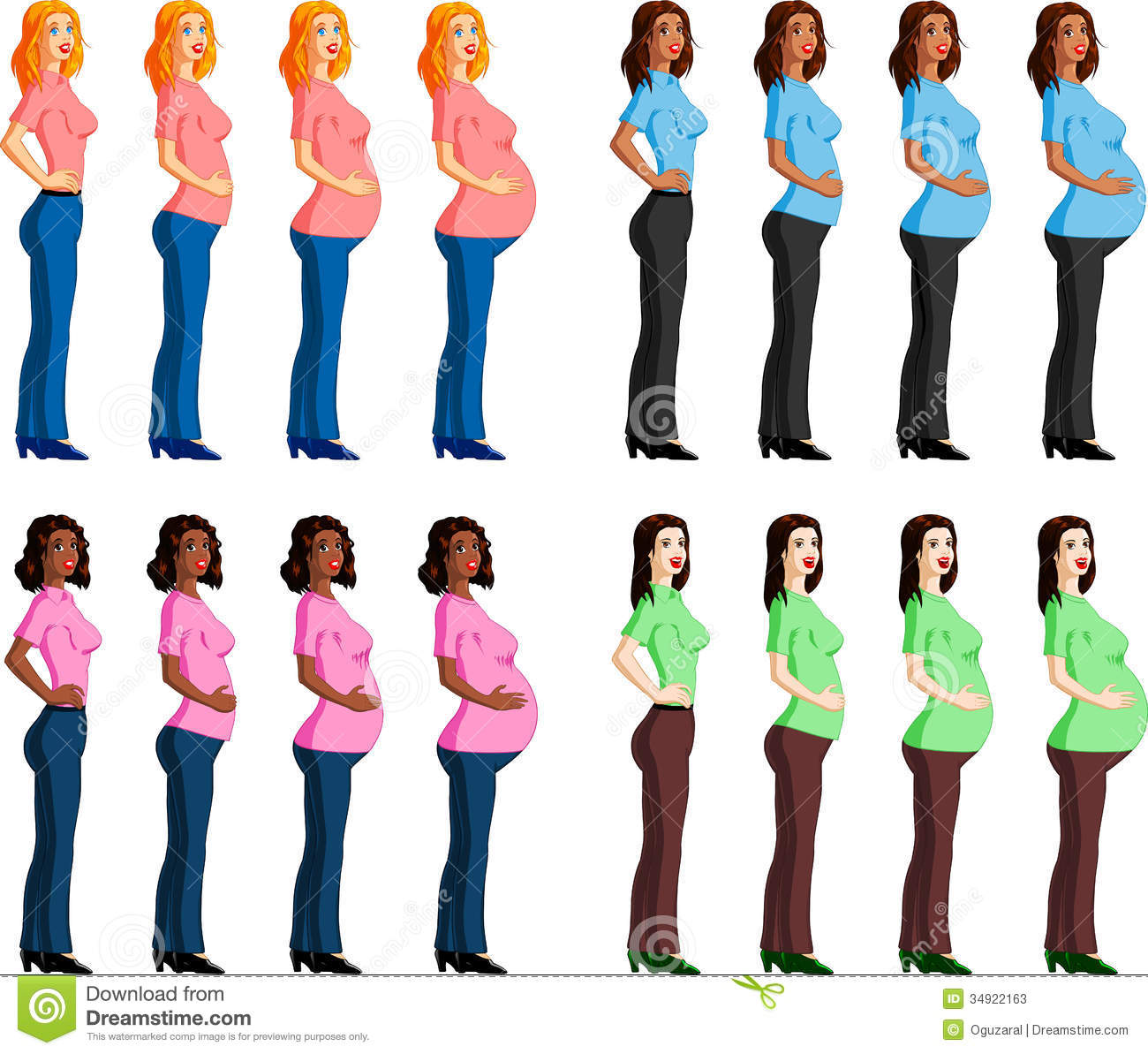Stages Of Pregnancy Stock Vector Illustration Of Bump