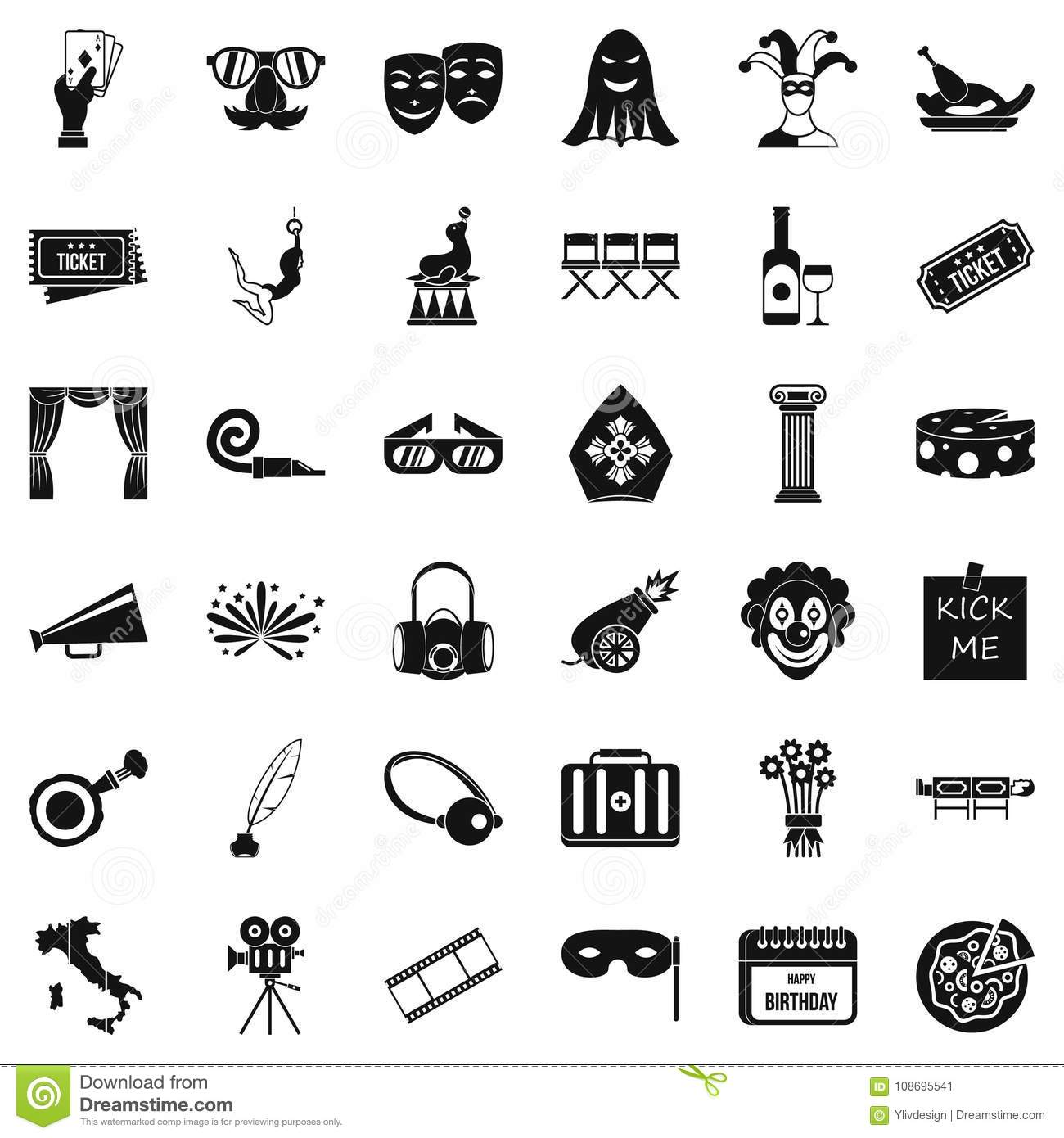 staging icons set simple style stock vector illustration of