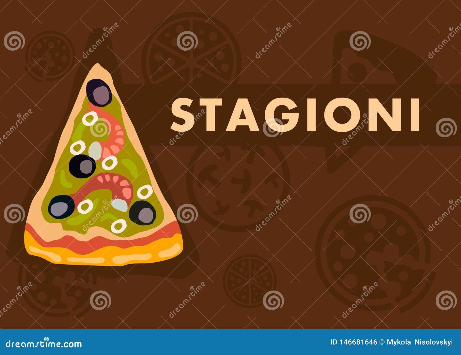 Stagioni Pizza Web Banner Vector Cartoon Template Stock