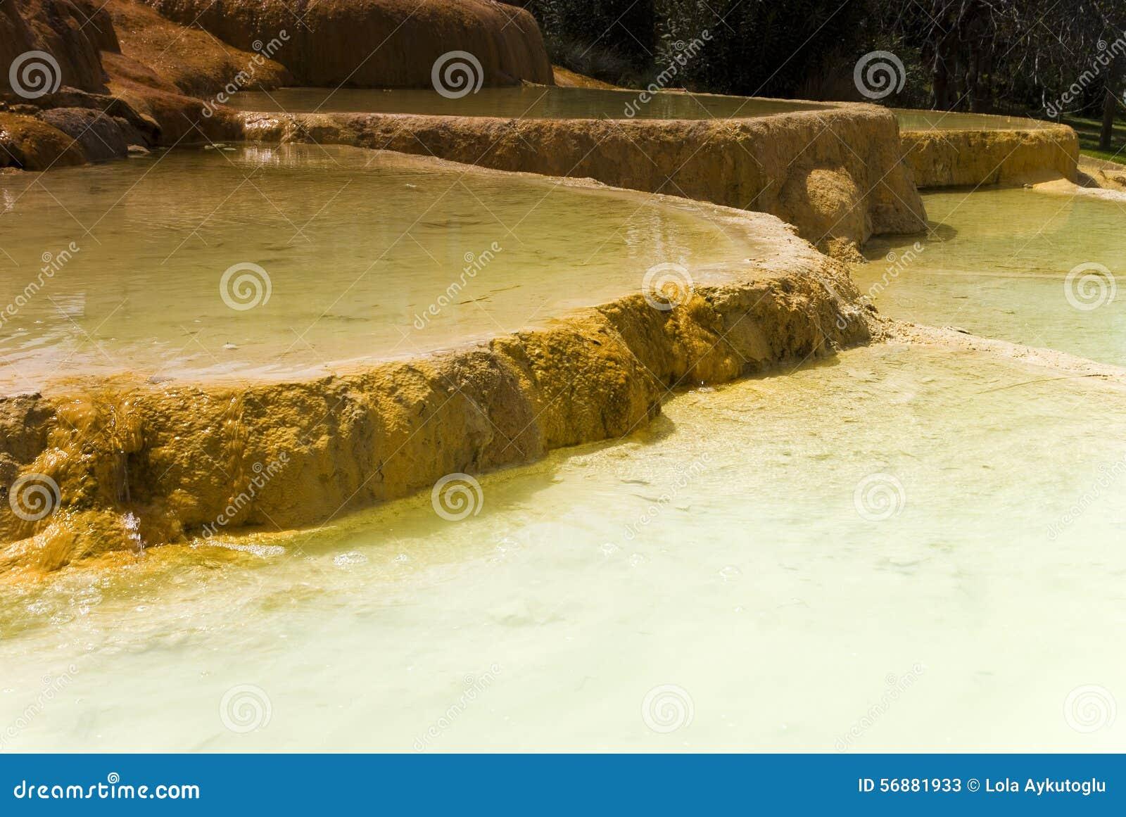 Stagni naturali del travertino di Karahayit dell acqua minerale calda in Pamukkale