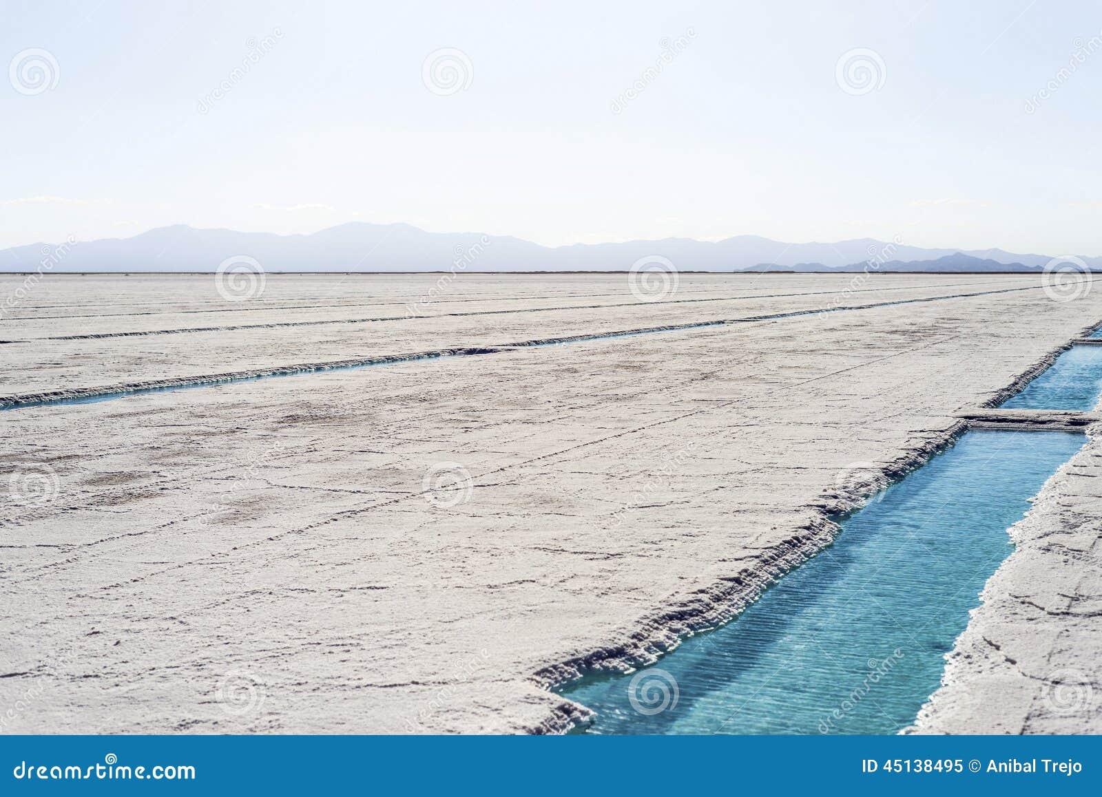 Stagno di acqua sulle saline Grandes Jujuy, Argentina
