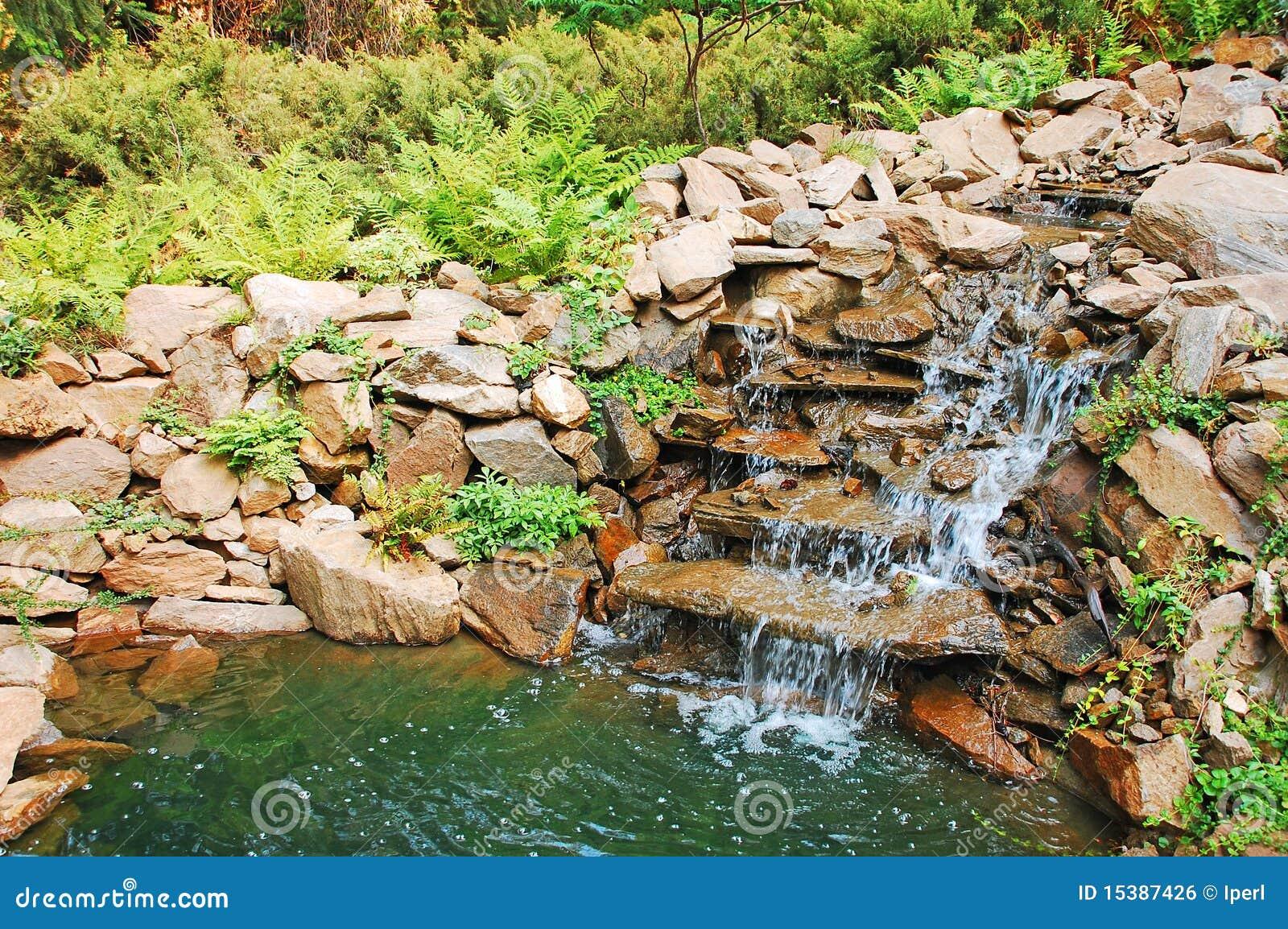 Stagno e cascata del giardino fotografia stock immagine for Stagno giardino