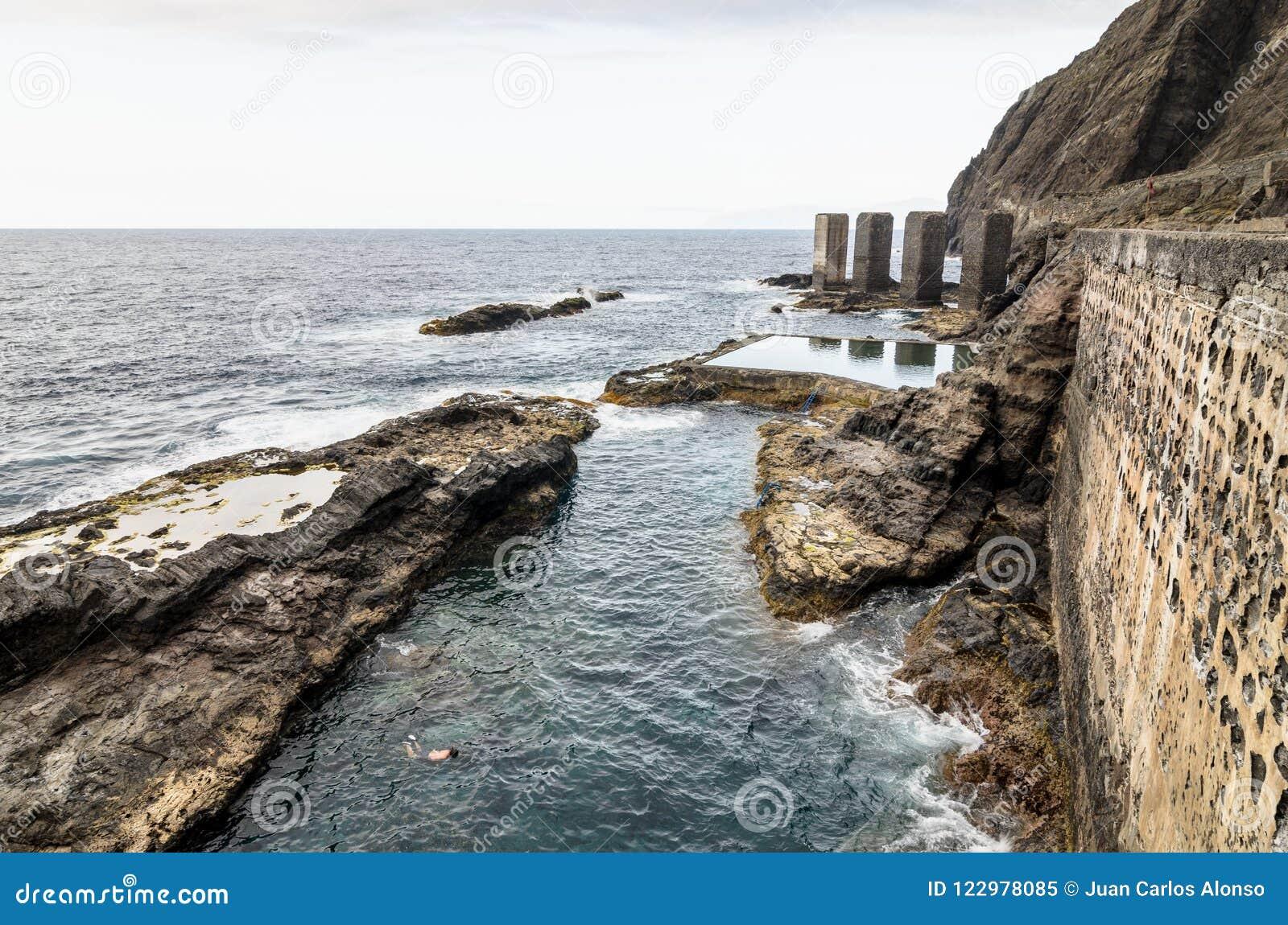 Stagno naturale nell isola di Gomera della La, isole Canarie