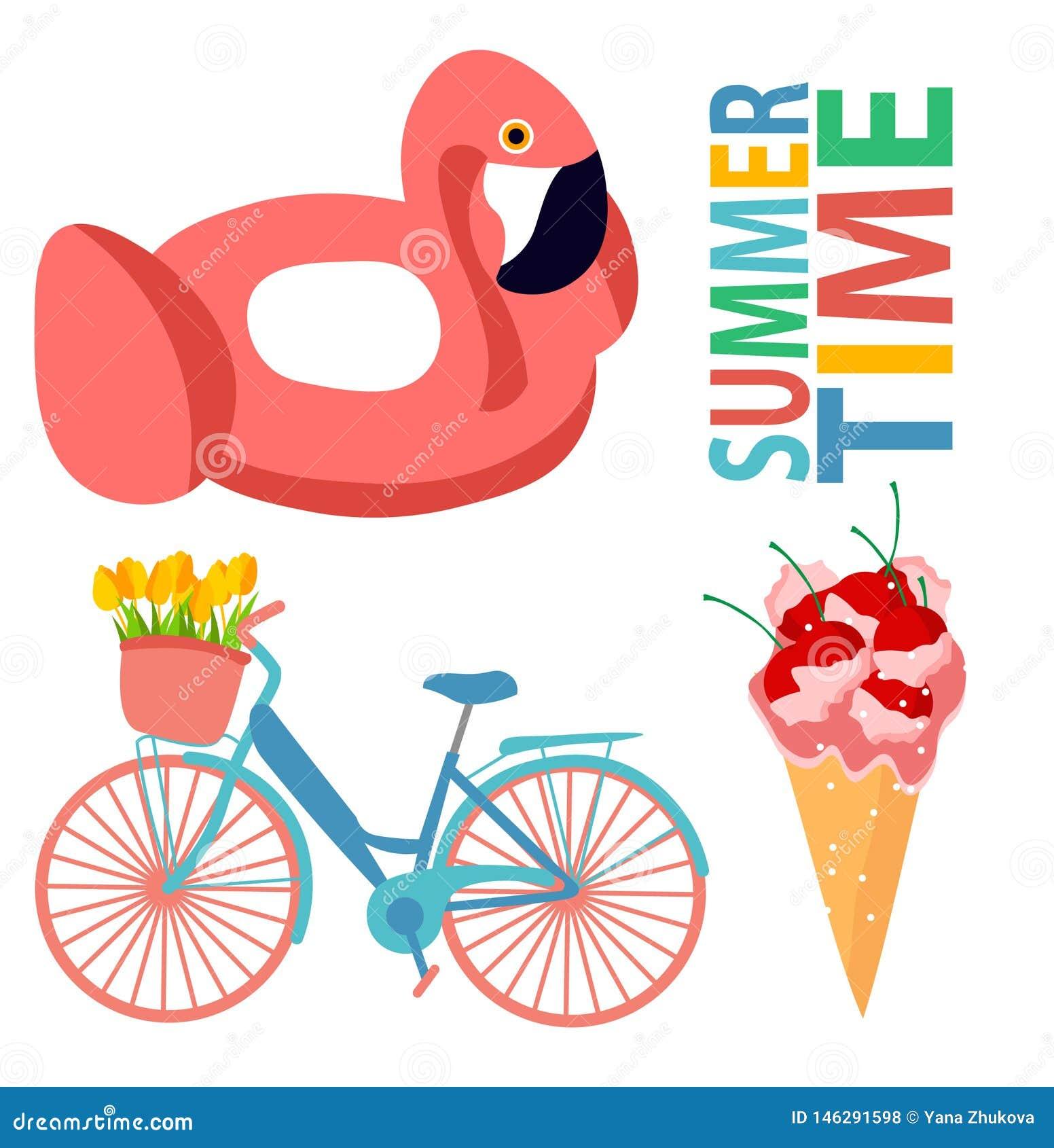 Stagno rosa di estate della bicicletta del gelato di progettazione di estate di progettazione del fenicottero della ciliegia dell