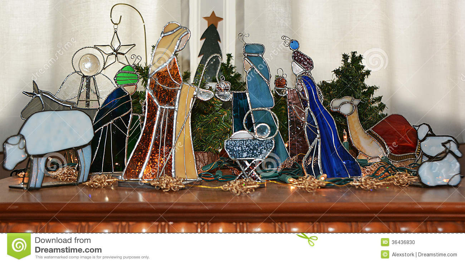 Stain Glass Nativity Scene Stock Photo Image Of Scene